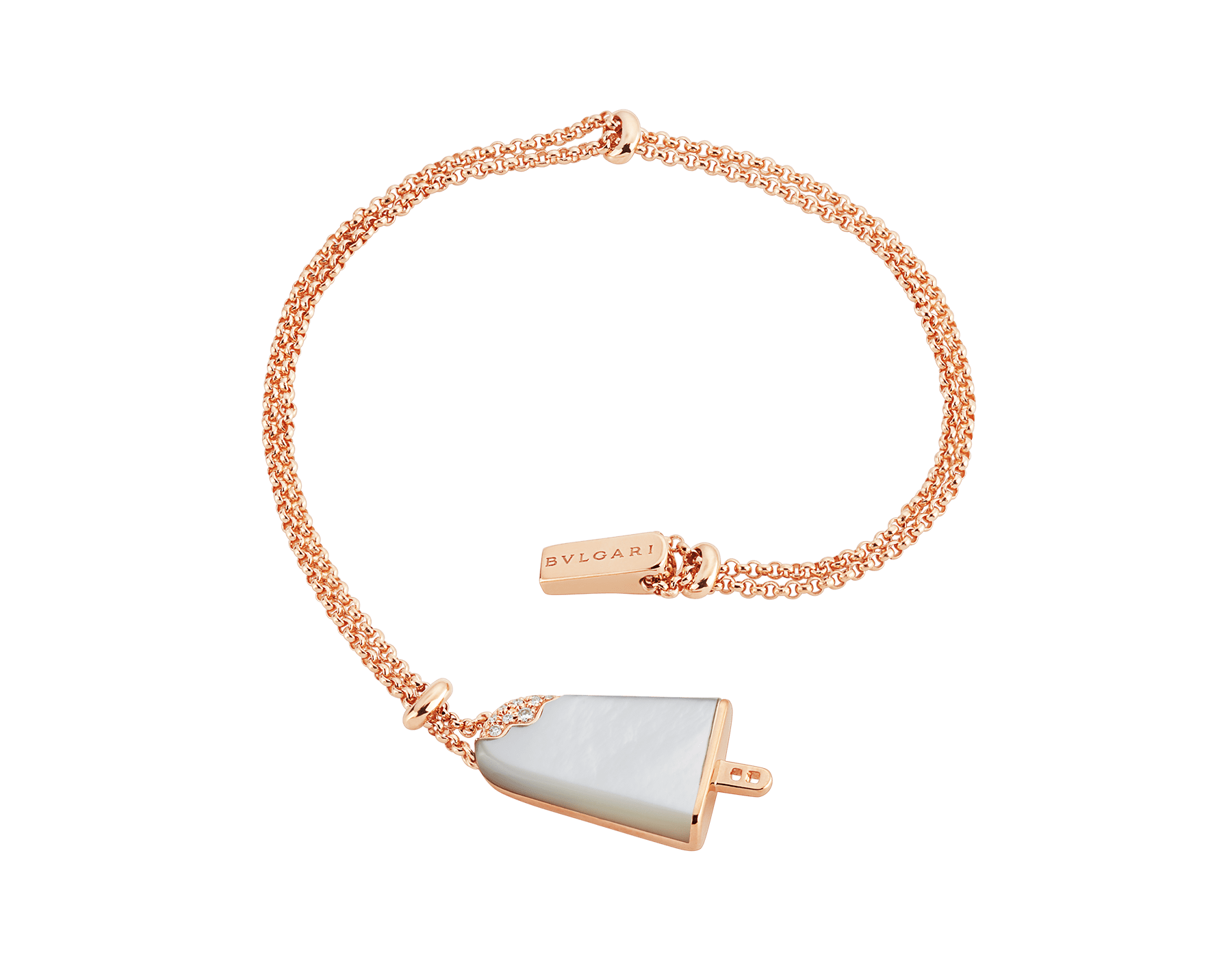 BVLGARI BVLGARI Gelati 18 kt rose gold soft bracelet set with mother-of-pearl and pavé diamonds BR858011 image 2