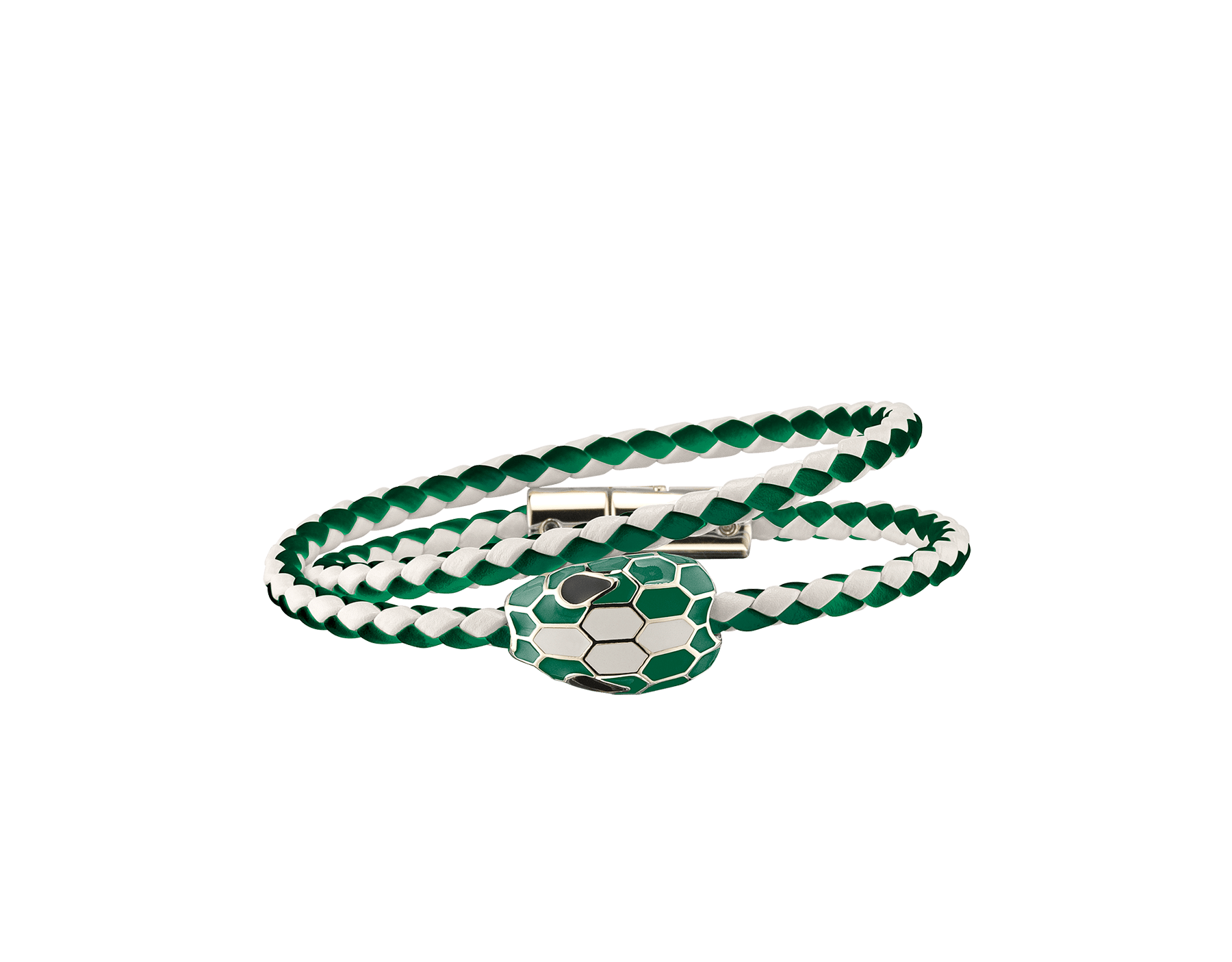 Serpenti Forever multi-coiled braid bracelet in emerald green and white agate woven calf leather, with the iconic snakehead décor in emerald green and white agate enamel with seducing black enamel eyes. SerpDoubleBraid-WCL-AGWA image 1