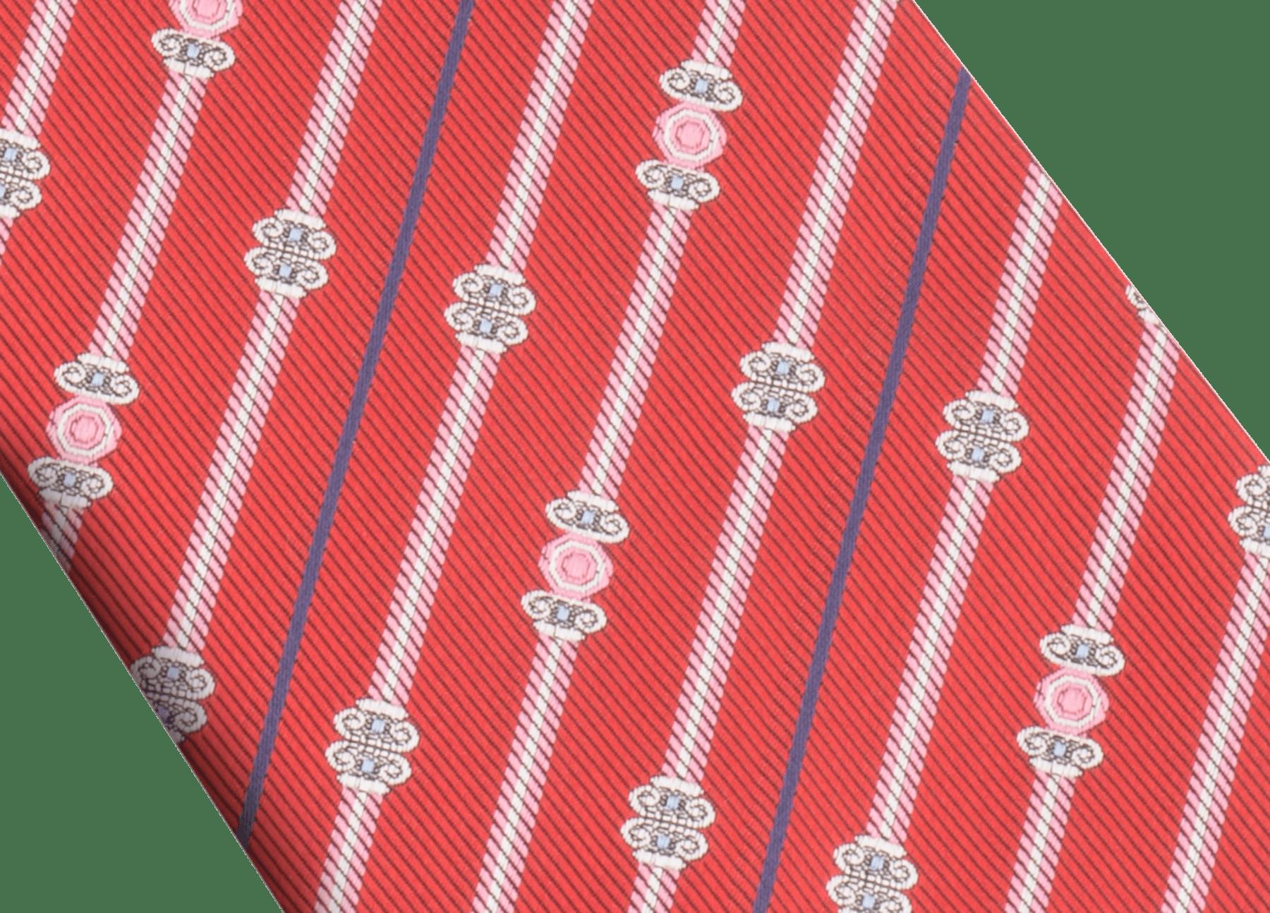 レッドの上質なジャガードシルク製「ブルガリ ピラーズ」セブンフォールドタイ。 BULGARIPILLARS image 2