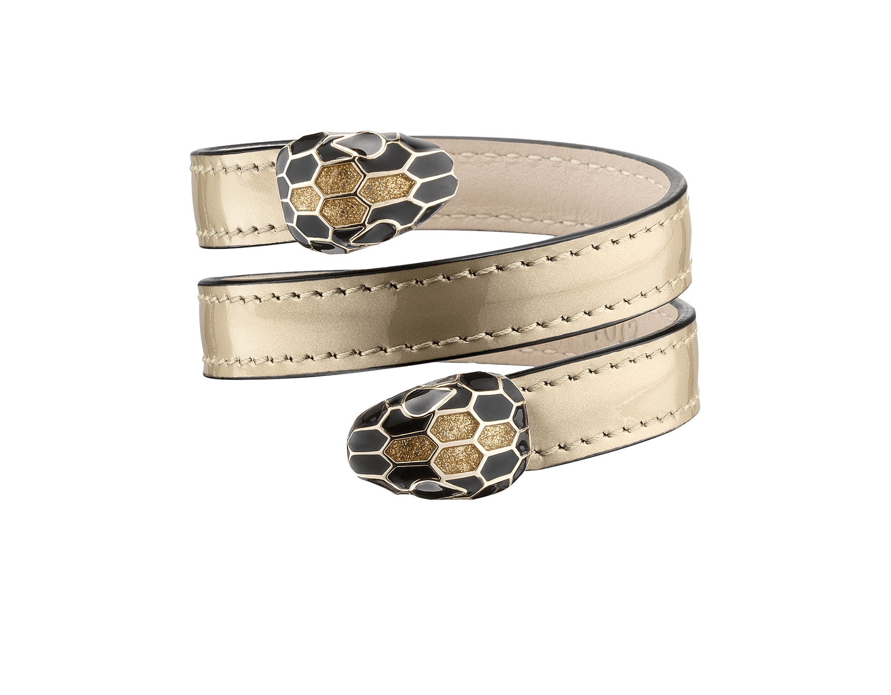 Multi-coiled rigid Cleopatra bracelet in antique bronze brushed metallic calf leather with brass light gold plated hardware.Double tempting Serpenti head finished in black and glitter gold enamel. Cleopatra-BMCL-AB image 1