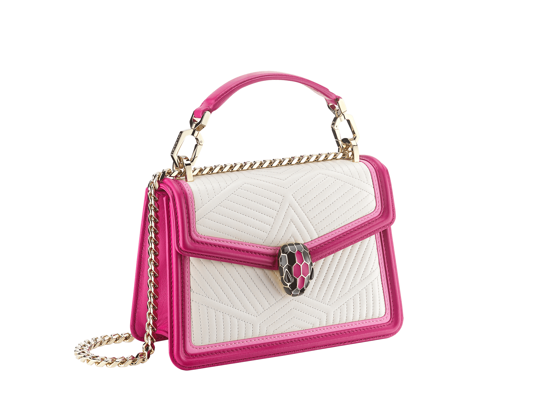 """Serpenti Diamond Blast"" top handle bag in white agate quilted nappa leather and berry tourmaline smooth calf leather frames. Iconic snakehead closure in light gold-plated brass enhanced with matte black and shiny berry tourmaline enamel and black onyx eyes. 289943 image 2"