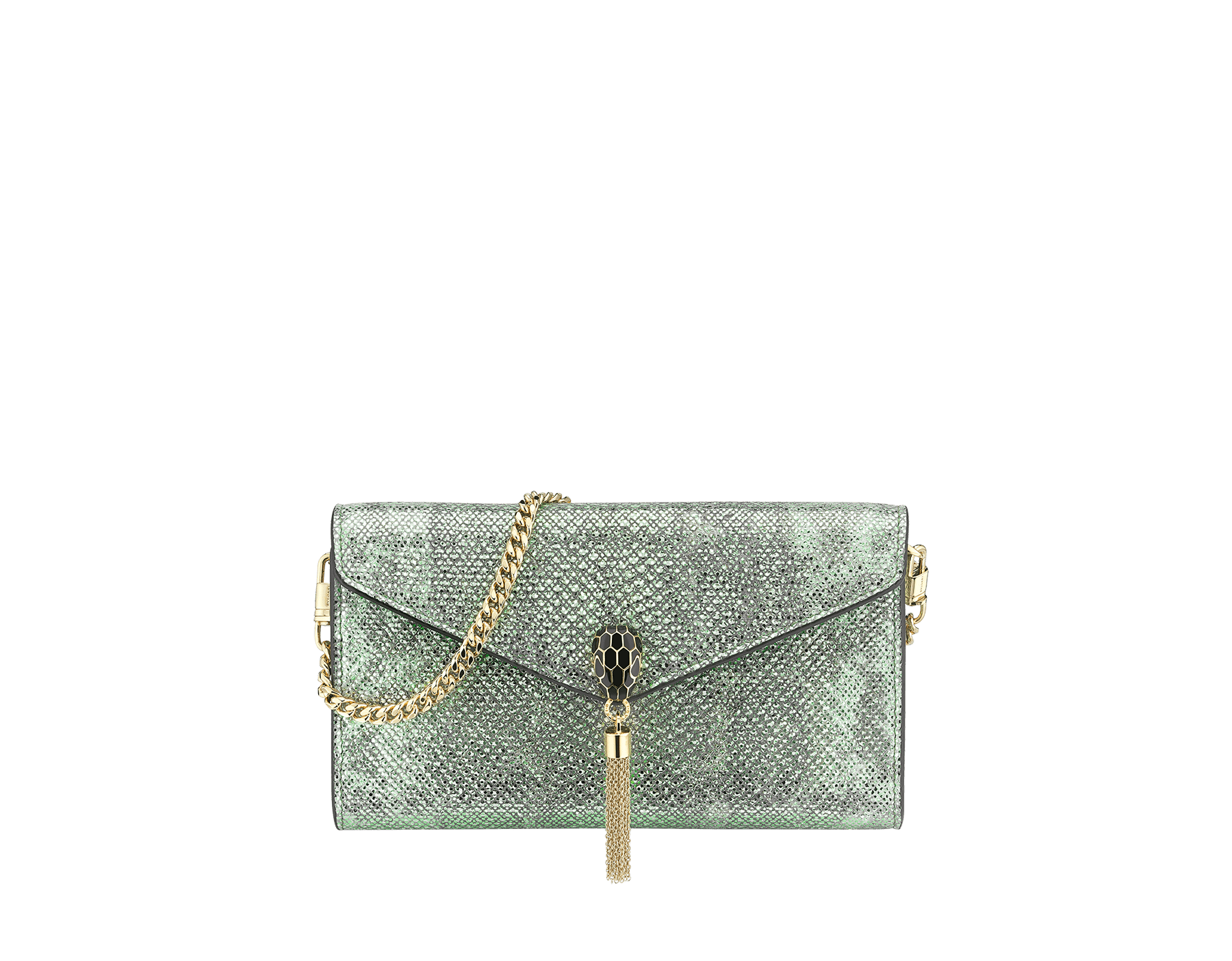 """Serpenti Forever"" small pochette in white agate metallic karung skin and black nappa leather. Iconic snakehead stud closure with tassel in palladium plated brass, enameled in matte and shiny black and finished with black enamel eyes. SMALLPOCHETTE-KARUNG image 1"