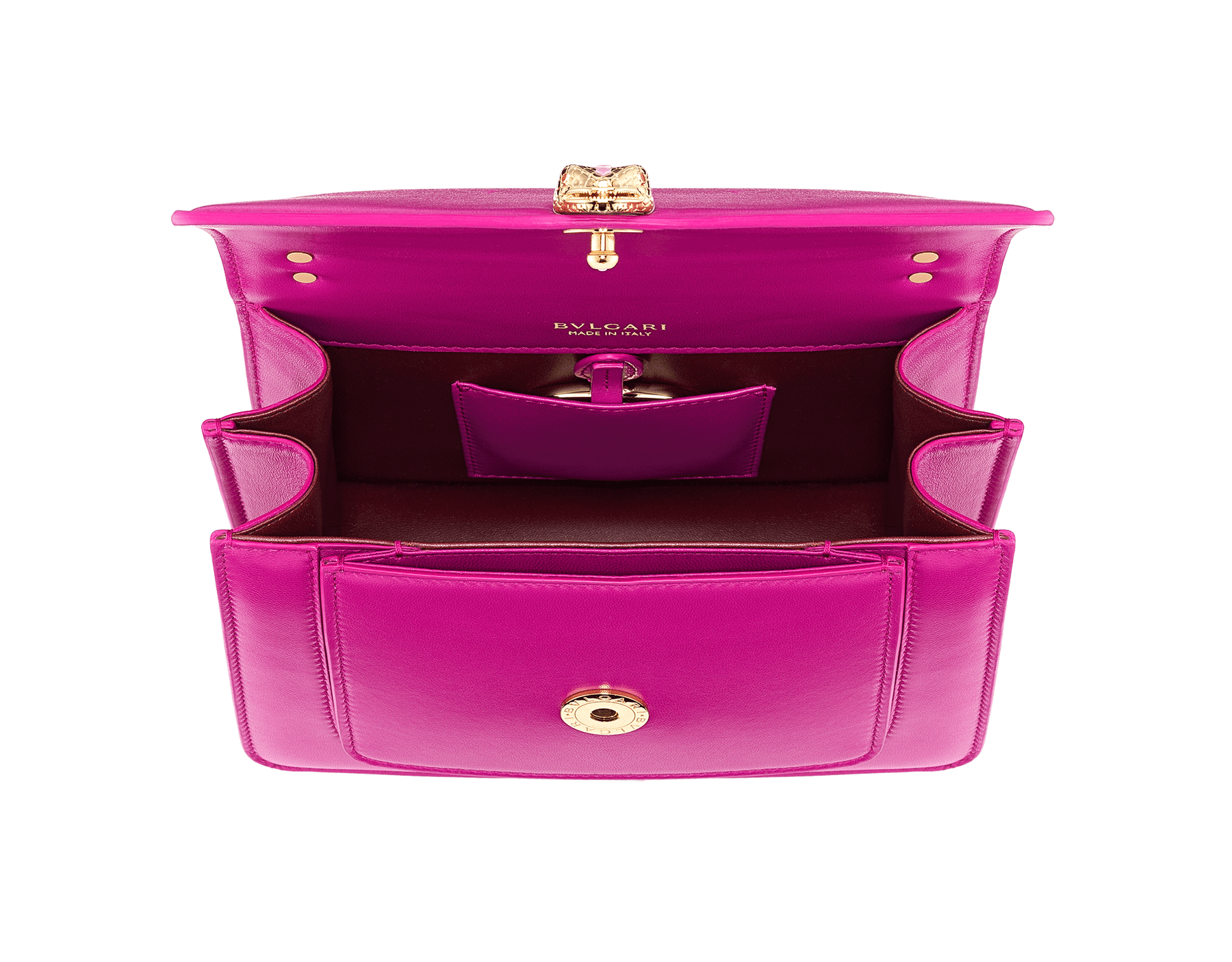"""Serpenti Forever"" small maxi chain crossbody bag in Magenta Spinel purple nappa leather, with Roman Garnet bordeaux nappa leather internal lining. New Serpenti head closure in gold plated brass, finished with small purple rhodonite scales in the middle and red enamel eyes. 1134-MCN image 4"