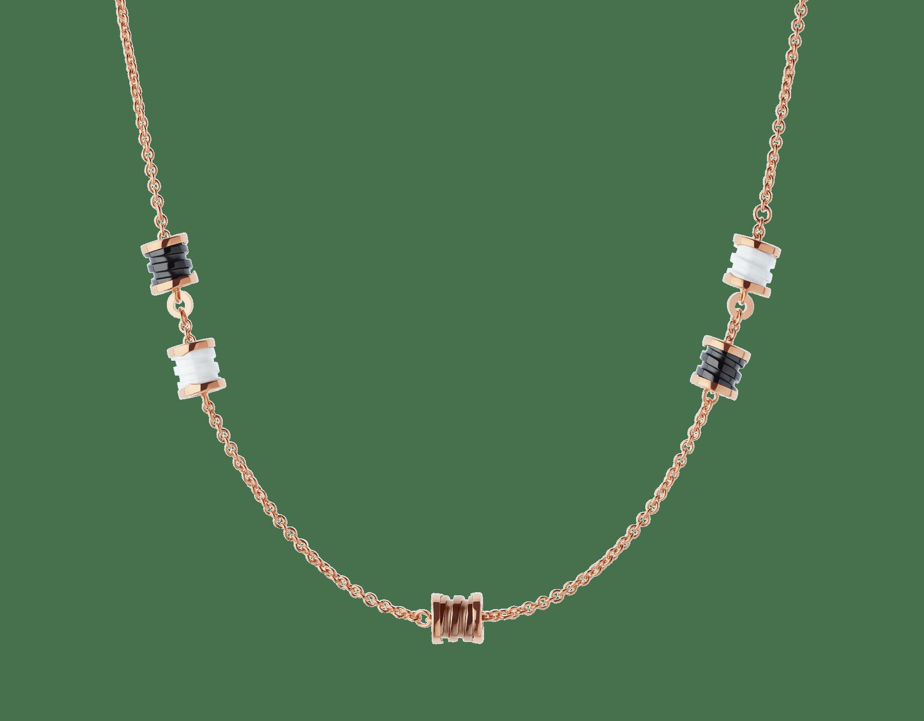 B.zero1 18 kt rose gold sautoir with spirals in 18 kt rose gold and cermet, 18 kt rose gold and white ceramic, 18 kt rose gold and black ceramic. 353002 image 1