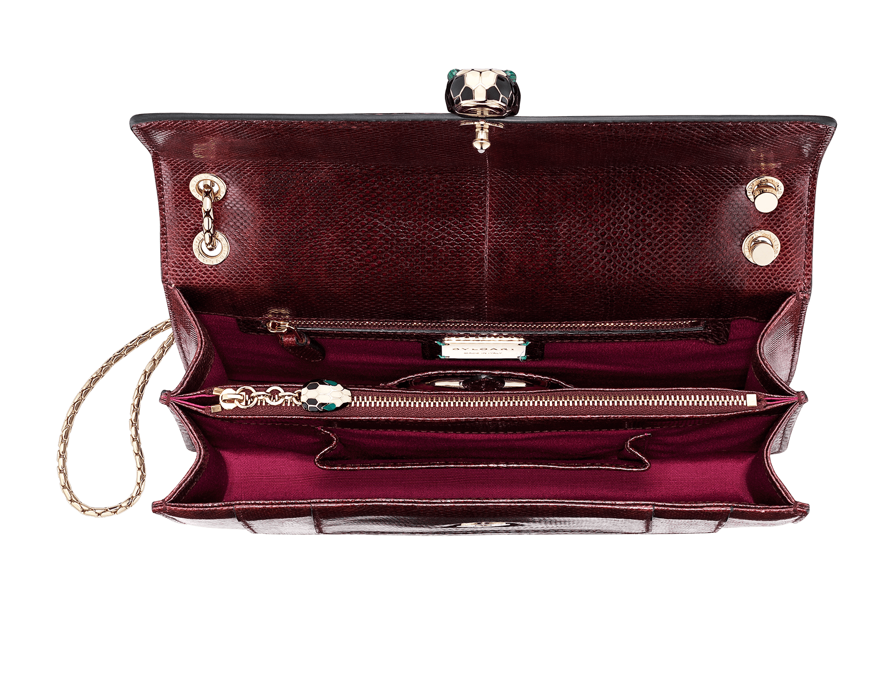 Flap cover bag Serpenti Forever in roman garnet shiny karung skin. Brass light gold plated tempting snake head closure in shiny black and white enamel, with eyes in green malachite. 286199 image 4