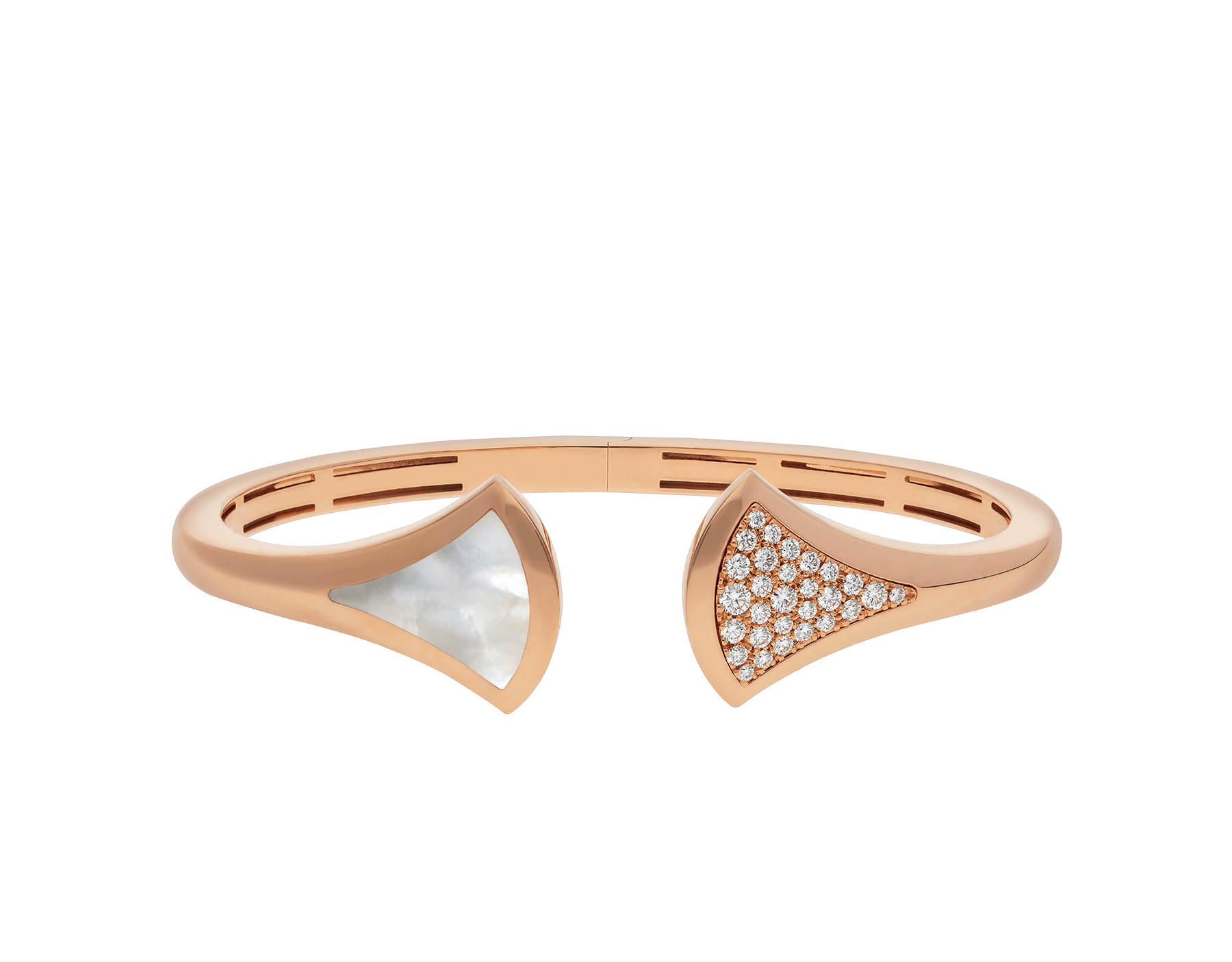 DIVAS' DREAM 18 kt rose gold cuff bracelet, set with mother-of-pearl and pavé diamonds. BR857370 image 2