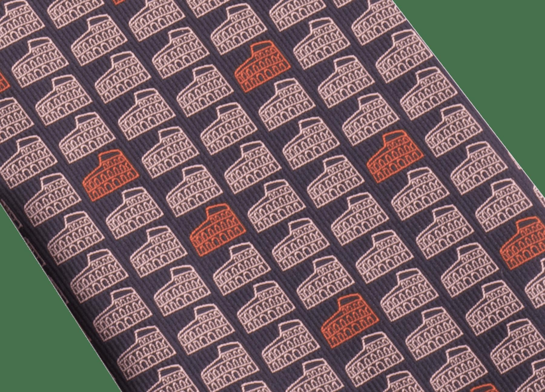 Cravatta nera con motivo Double Roma in seta pregiata. 243727 image 2