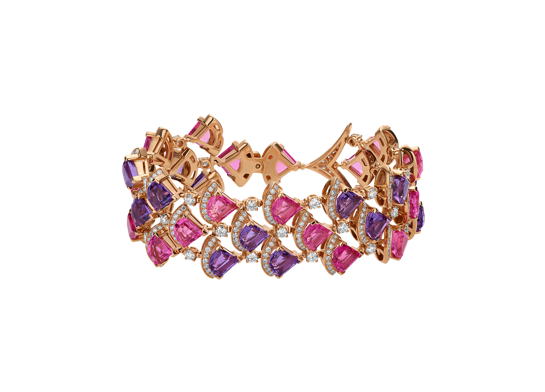 DIVAS' DREAM bracelet in 18 kt rose gold set with pink rubellite (14.05 ct), amethysts (10.65 ct) and pavè diamonds (4.15 ct). BR858025 image 2