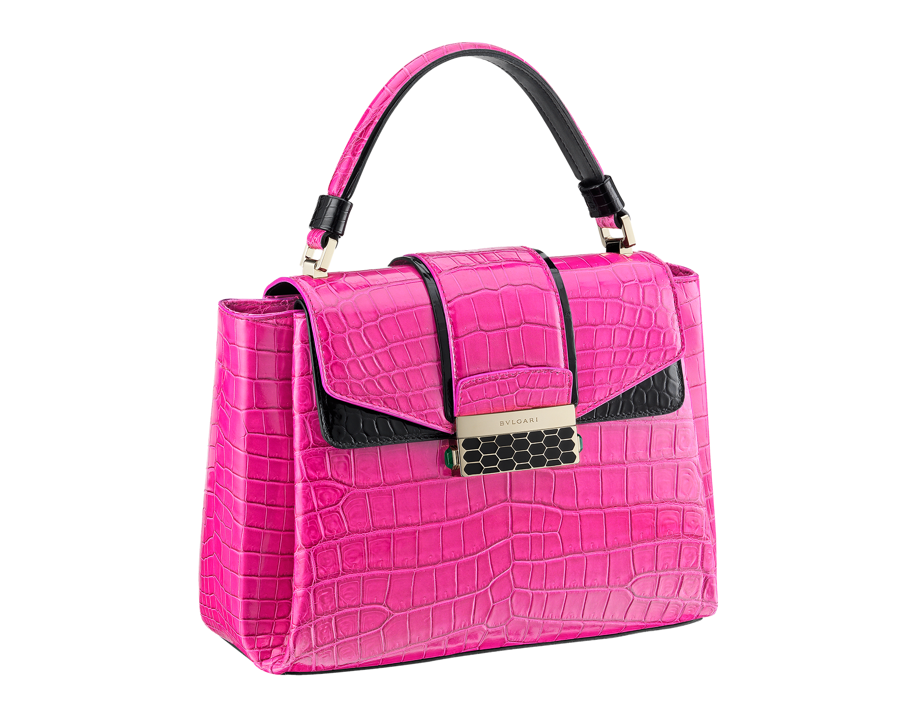 Top handle bag Serpenti Viper in pink spinel and black shiny crocodile skin. 283336 image 2