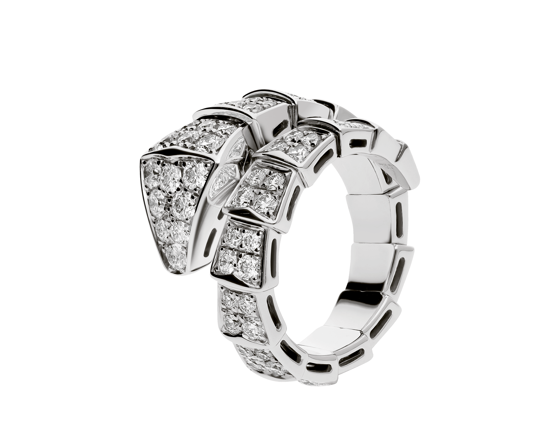 Serpenti Viper one-coil ring in 18 kt white gold, set with full pavé diamonds. AN855116 image 2