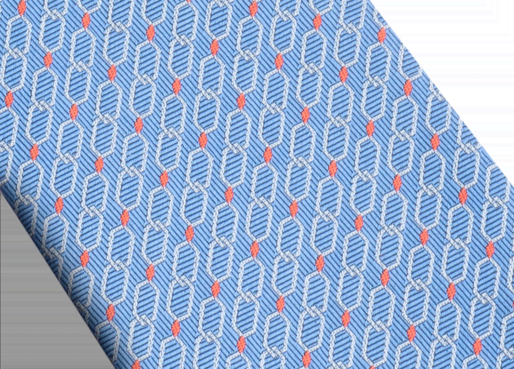 Cravate sept plis Snake Link bleu clair en jacquard de soie fine. 244173 image 2