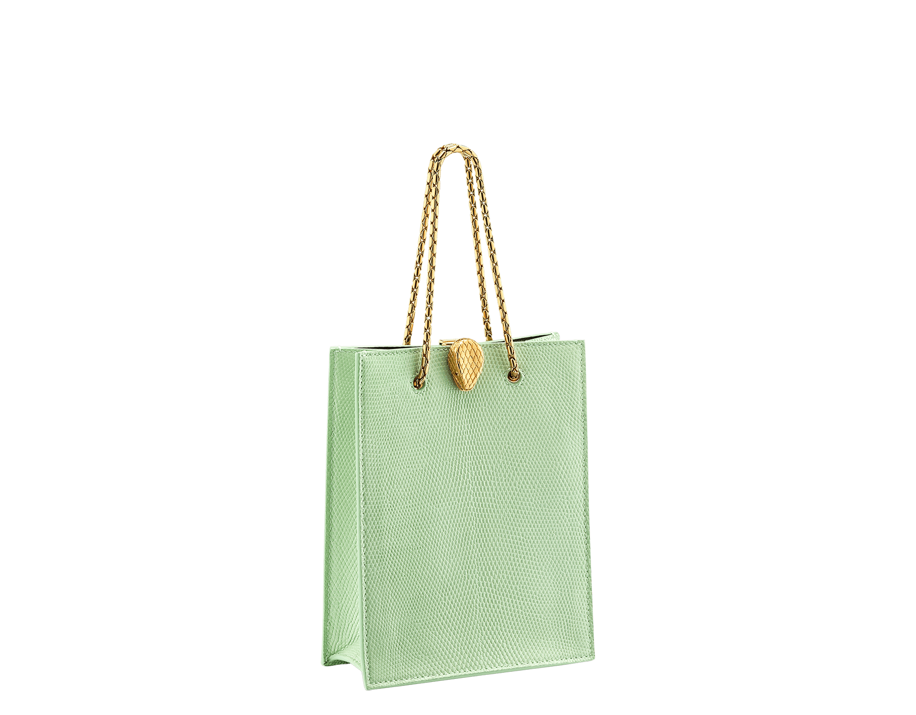 Alexander Wang x Bvlgari mini shopping tote bag in mint lizard skin and black calf leather. New Serpenti head closure in antique gold plated brass with tempting red enamel eyes. Limited edition. 288727 image 2