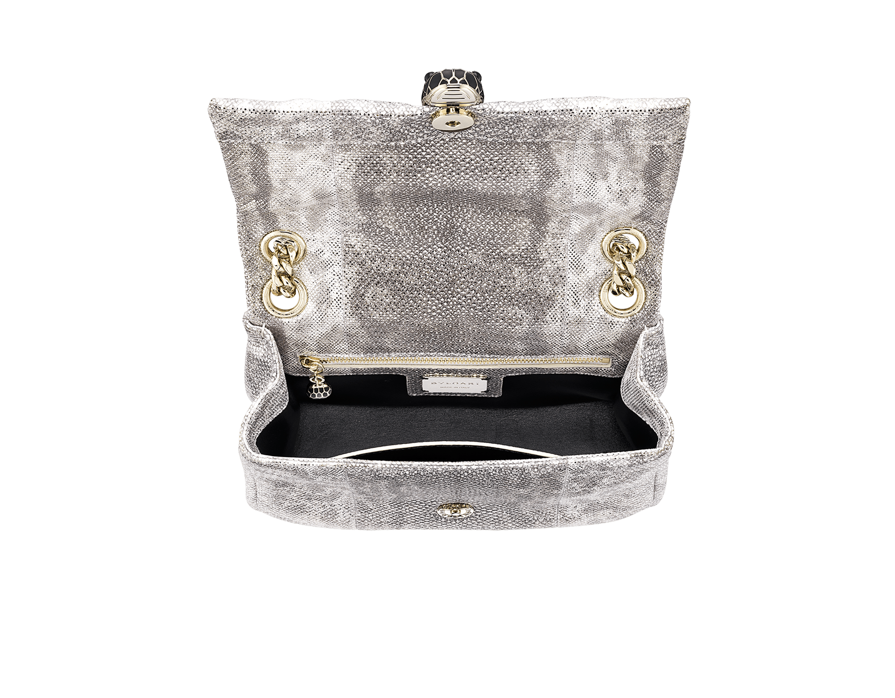 Serpenti Cabochon shoulder bag in soft matelassé charcoal diamond metallic karung skin with graphic motif. Snakehead closure in light gold plated brass decorated with matte black and glitter charcoal diamond enamel, and black onyx eyes. 981-MK image 4