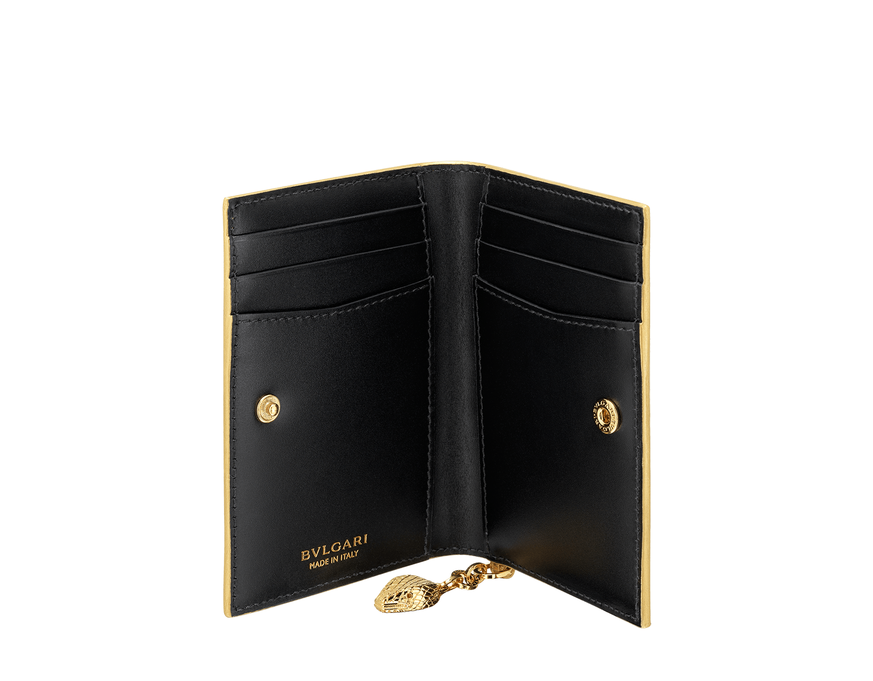 """Serpenti Forever"" bi-fold card holder in ""Molten"" gold karung skin and black calfskin, offering a touch of radiance for the Winter Holidays. New Serpenti head charm in gold-plated brass, complete with ruby-red enamel eyes. 290512 image 2"