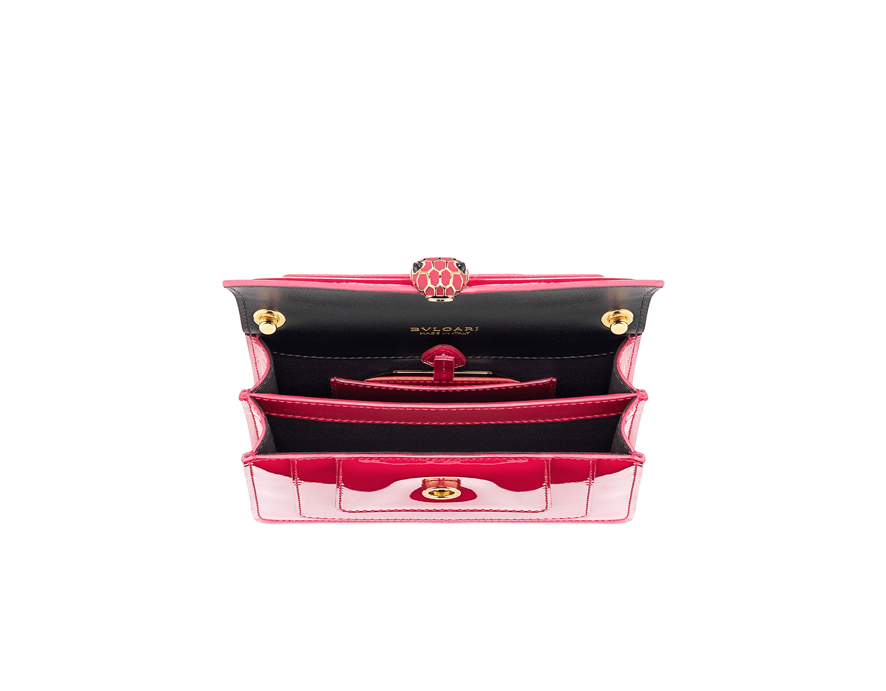 """Serpenti Forever"" crossbody mini bag in Magenta Spinel purple with a varnished and pearled effect, and black grosgrain inner lining. Gold-plated brass snakehead closure in full matte Magenta Spinel purple enamel, with black onyx eyes. Lunar New Year Special Edition. 986-VCL image 4"