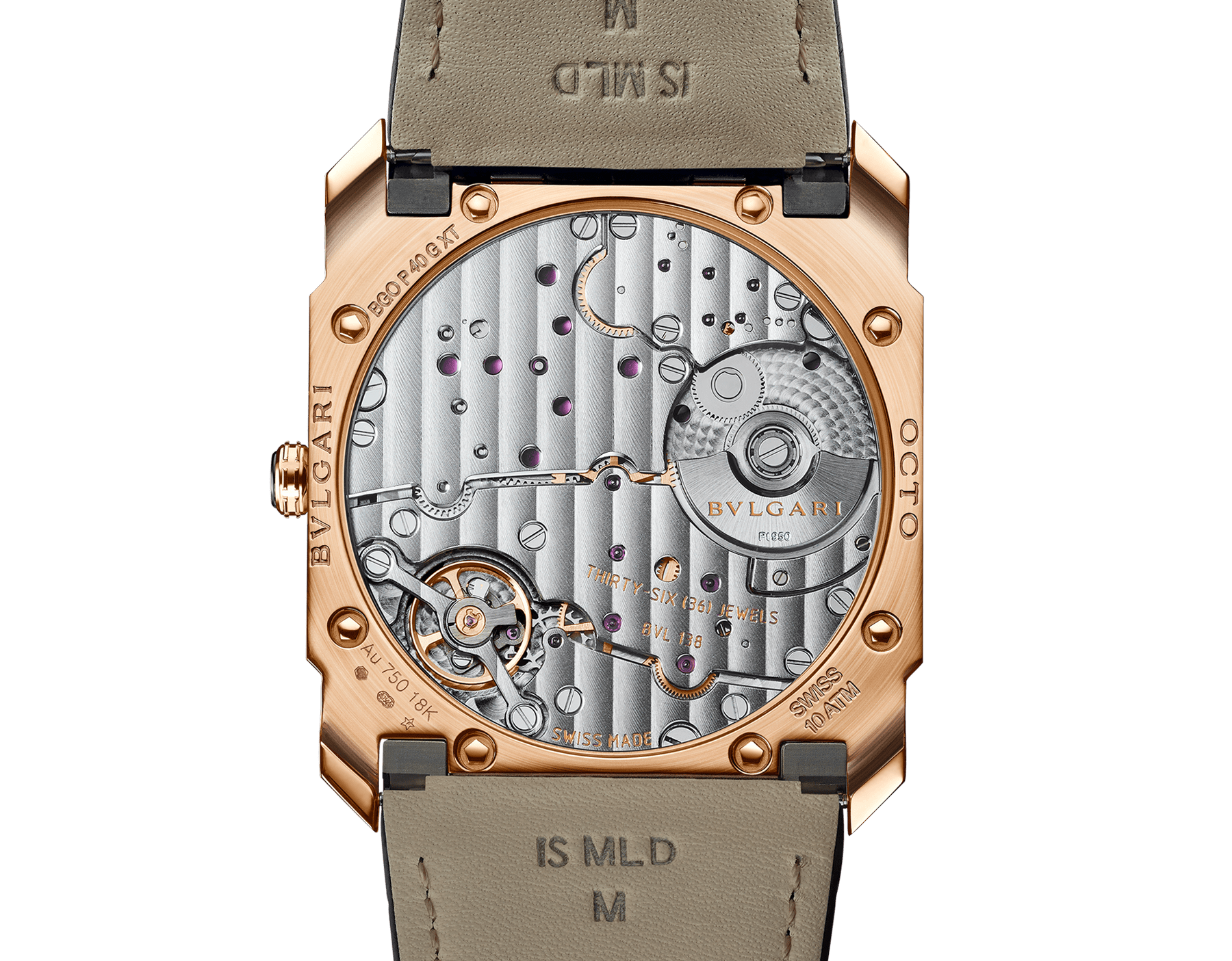 Octo Finissimo Automatic watch with mechanical manufacture movement, automatic winding, platinum microrotor, small seconds, extra-thin 18 kt satin-polished rose gold case, transparent case back, black matte dial and black alligator bracelet. Water-resistant up to 100 metres 103286 image 4