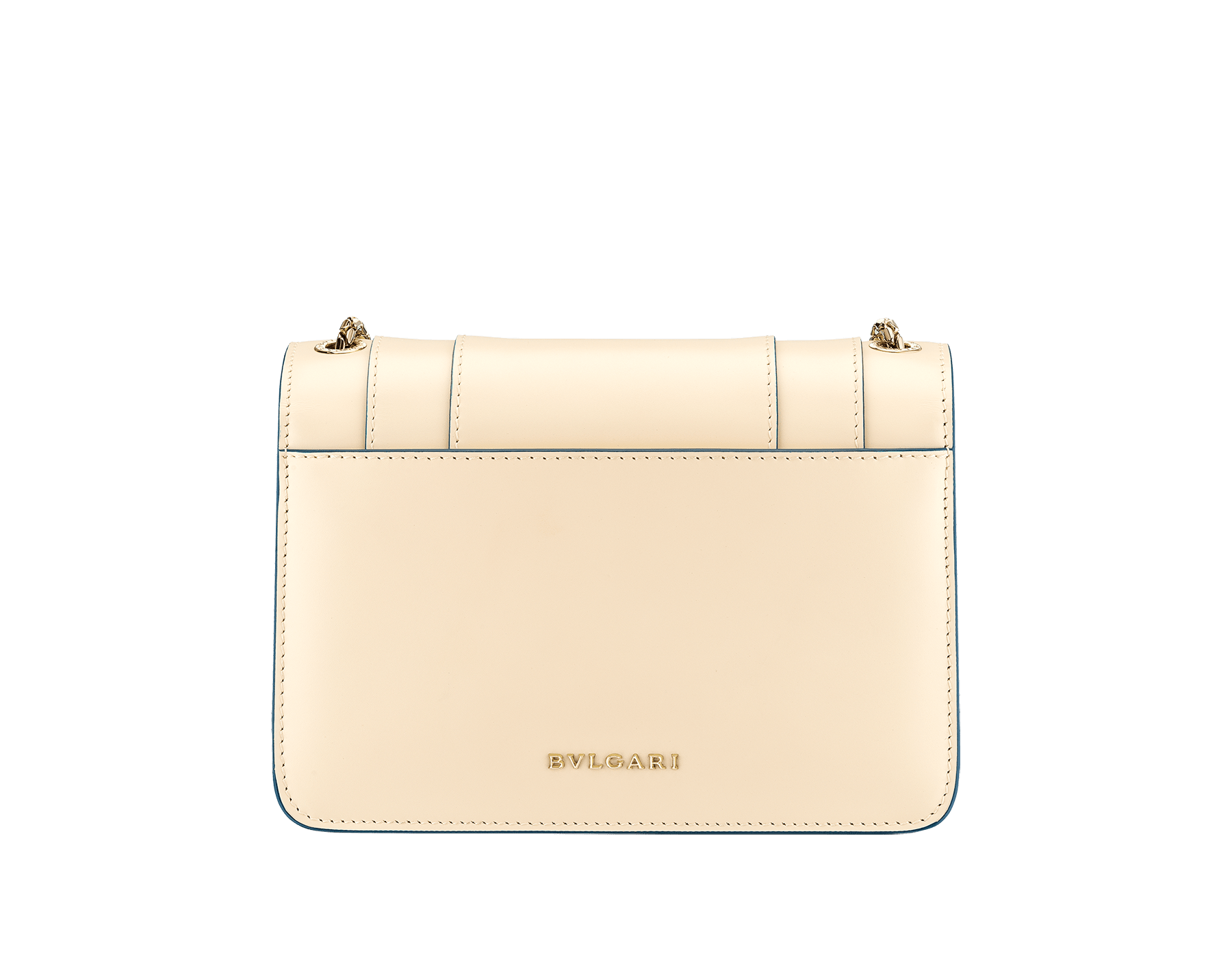 """""""Serpenti Forever"""" crossbody bag in mint calf leather. Iconic snakehead closure in light gold plated brass enriched with black and white agate enamel and green malachite eyes. 1082-CLb image 3"""