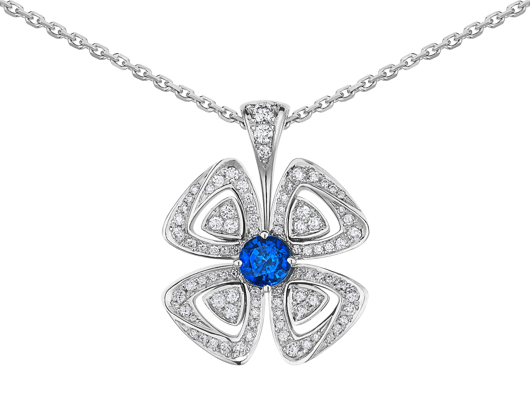 Fiorever 18 kt white gold pendant necklace set with a central brilliant-cut sapphire (0.43 ct) and pavé diamonds (0.31 ct) 358426 image 3