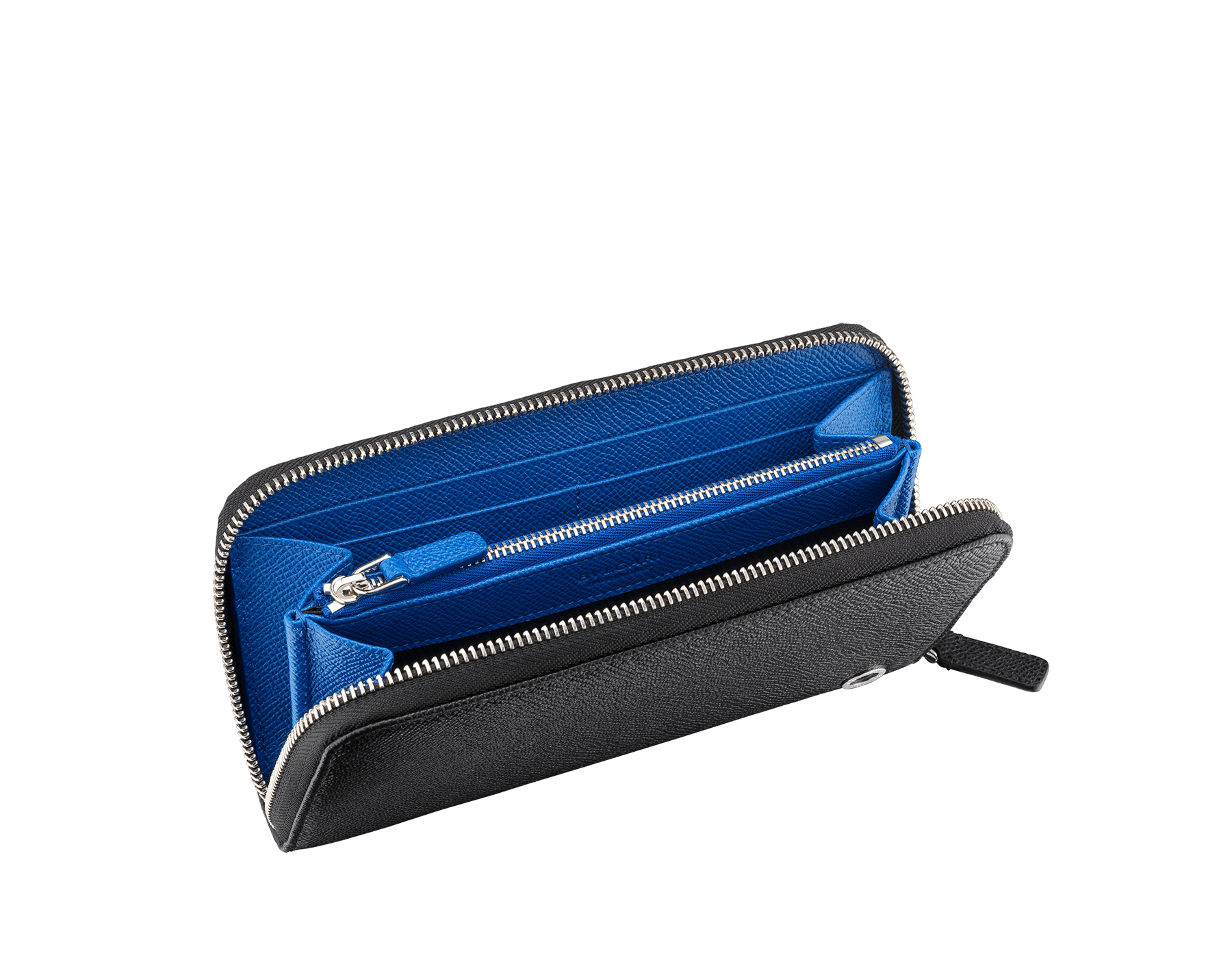 BVLGARI BVLGARI man zipped wallet in black and cobalt tourmaline grain calf leather and black nappa lining. Iconic logo décor in palladium plated brass. 288251 image 2