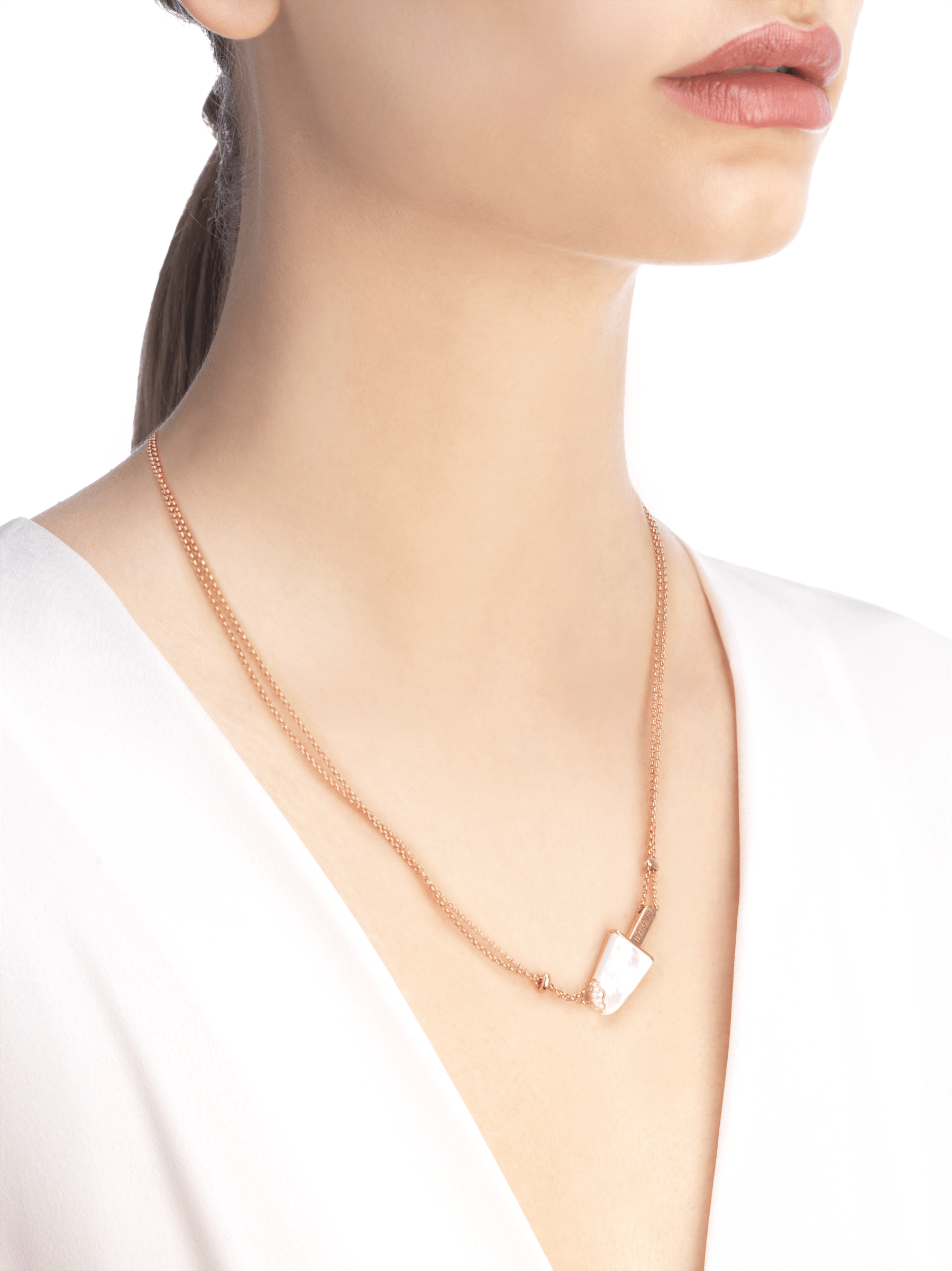 BVLGARI BVLGARI Gelati 18 kt rose gold necklace set with mother-of-pearl and pavé diamonds 356132 image 3