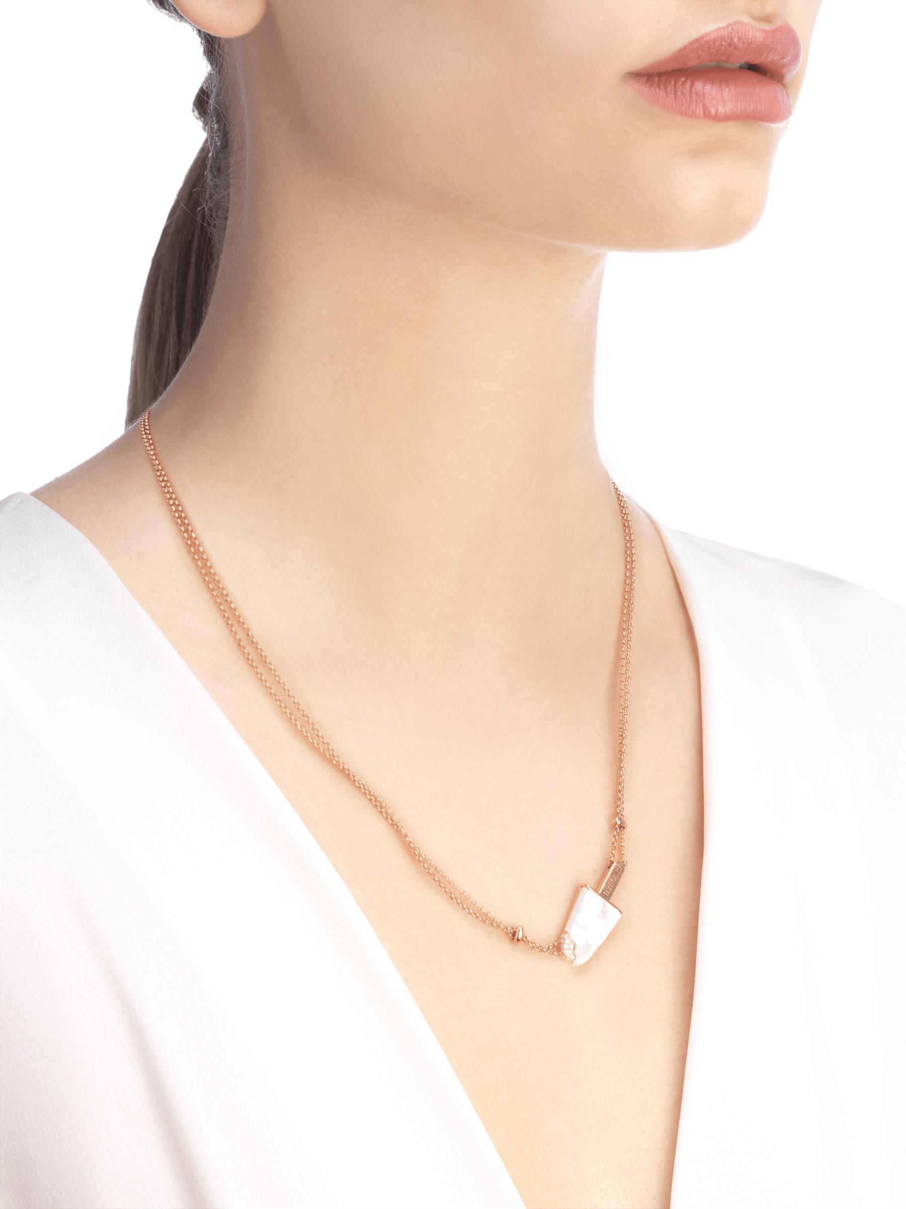 Colar BVLGARIBVLGARI Gelati em ouro rosa 18K cravejado com madrepérola e pavê de diamantes 356132 image 3