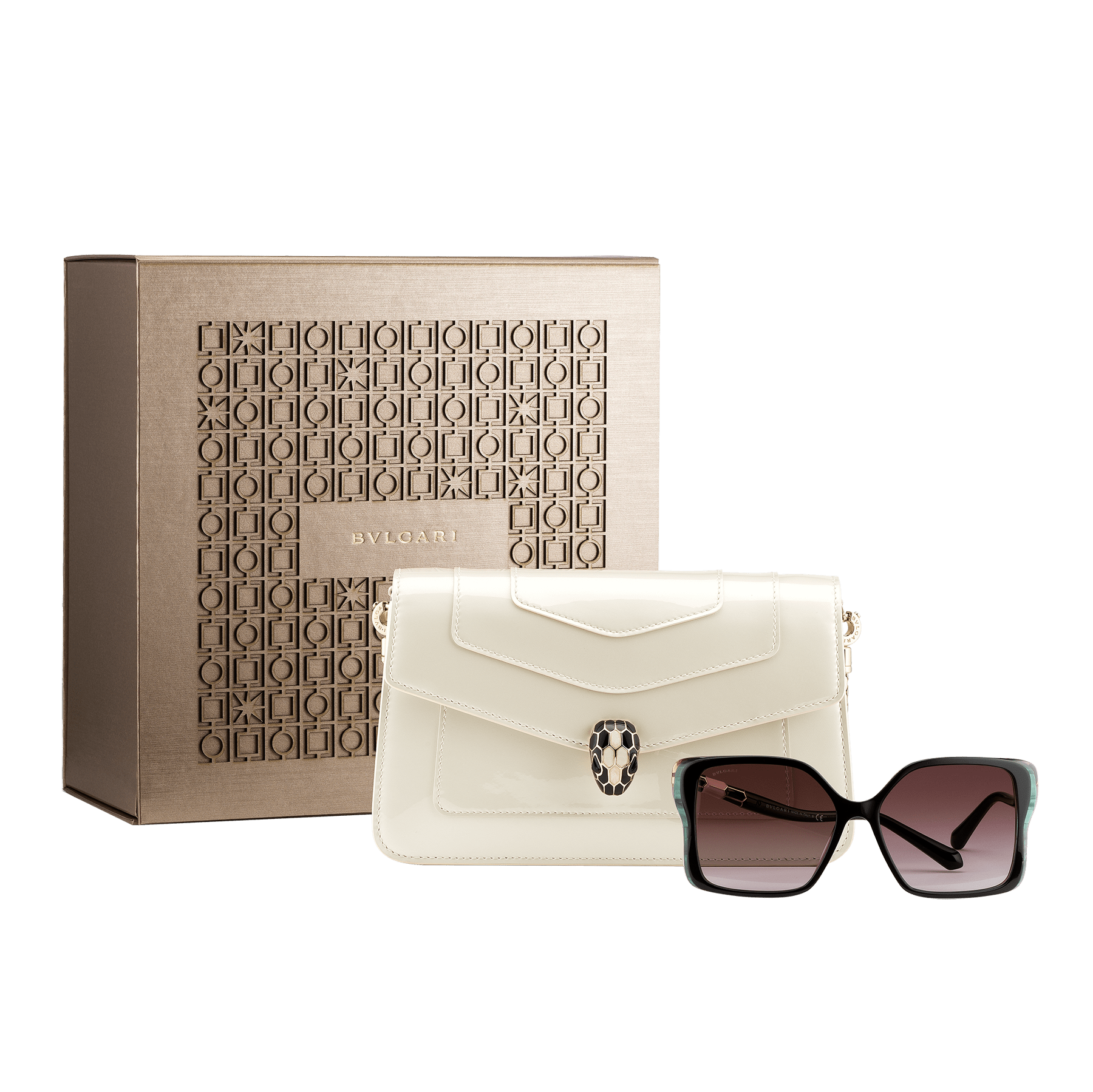 An elegant box composed of a white agate calf leather chain wallet and multicolored acetate frame sunglasses, for a special gift.