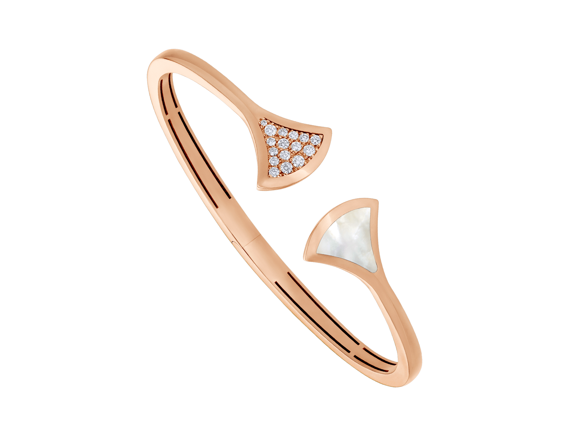 DIVAS' DREAM 18 kt rose gold bangle bracelet set with a mother of pearl element and pavé diamonds. BR858680 image 1