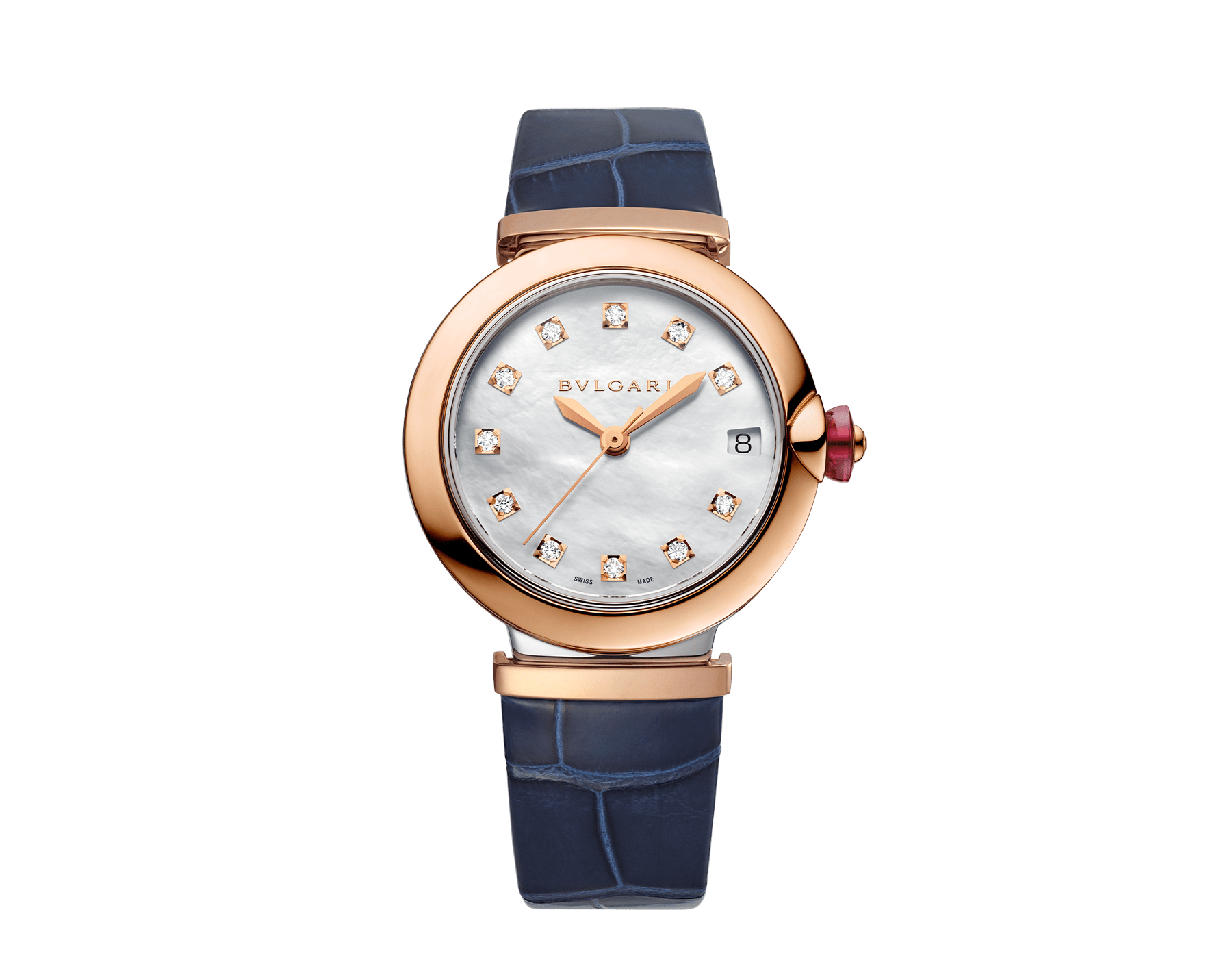 LVCEA watch with 18 kt rose gold and stainless steel case, white mother-of-pearl dial set with diamond indexes, date aperture and blue alligator bracelet. 102638 image 1