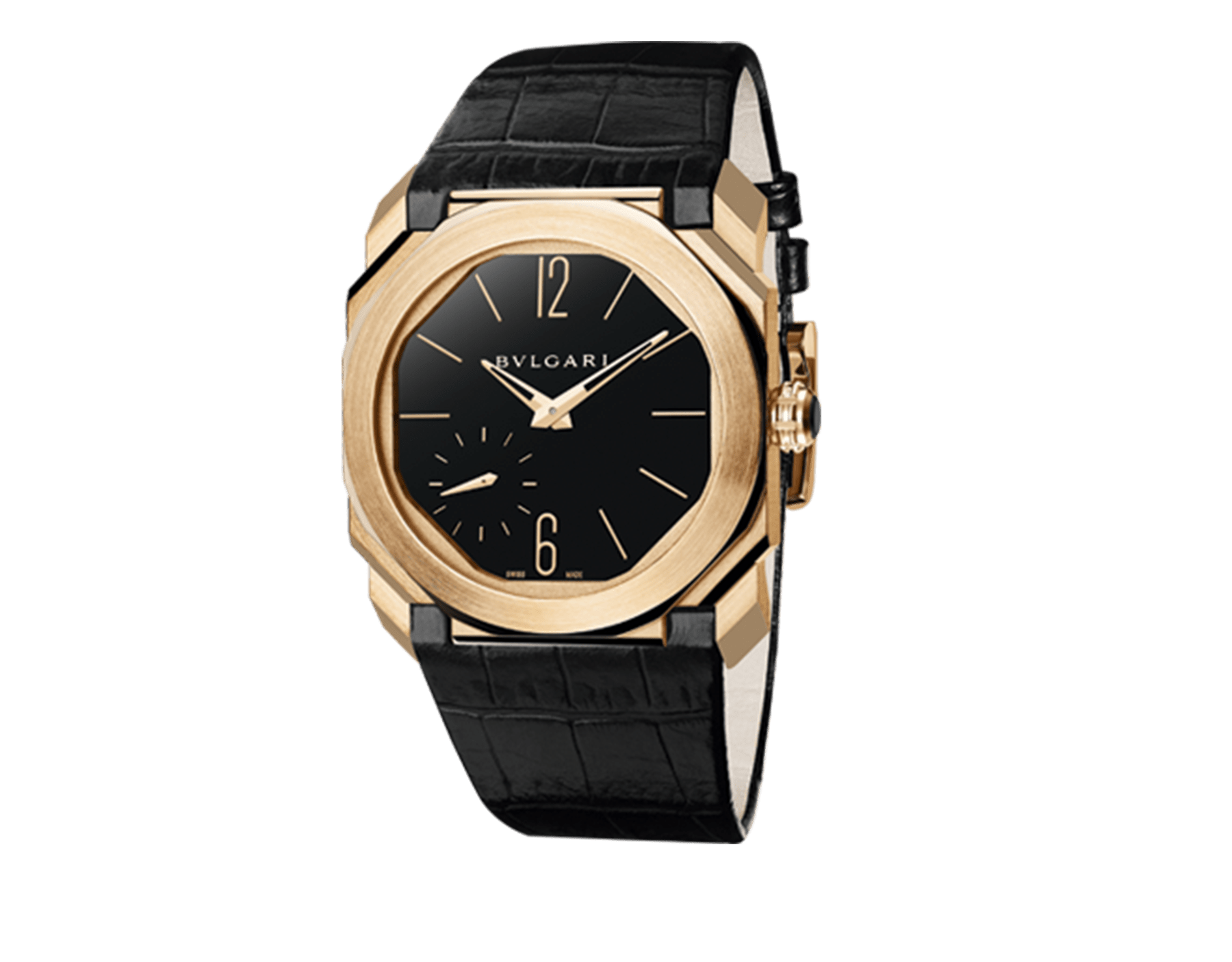 Octo Finissimo watch with extra thin mechanical manufacture movement, manual winding, small seconds and back-side power reserve indication, 18 kt rose gold case, black lacquered dial and black alligator bracelet. 102371 image 1