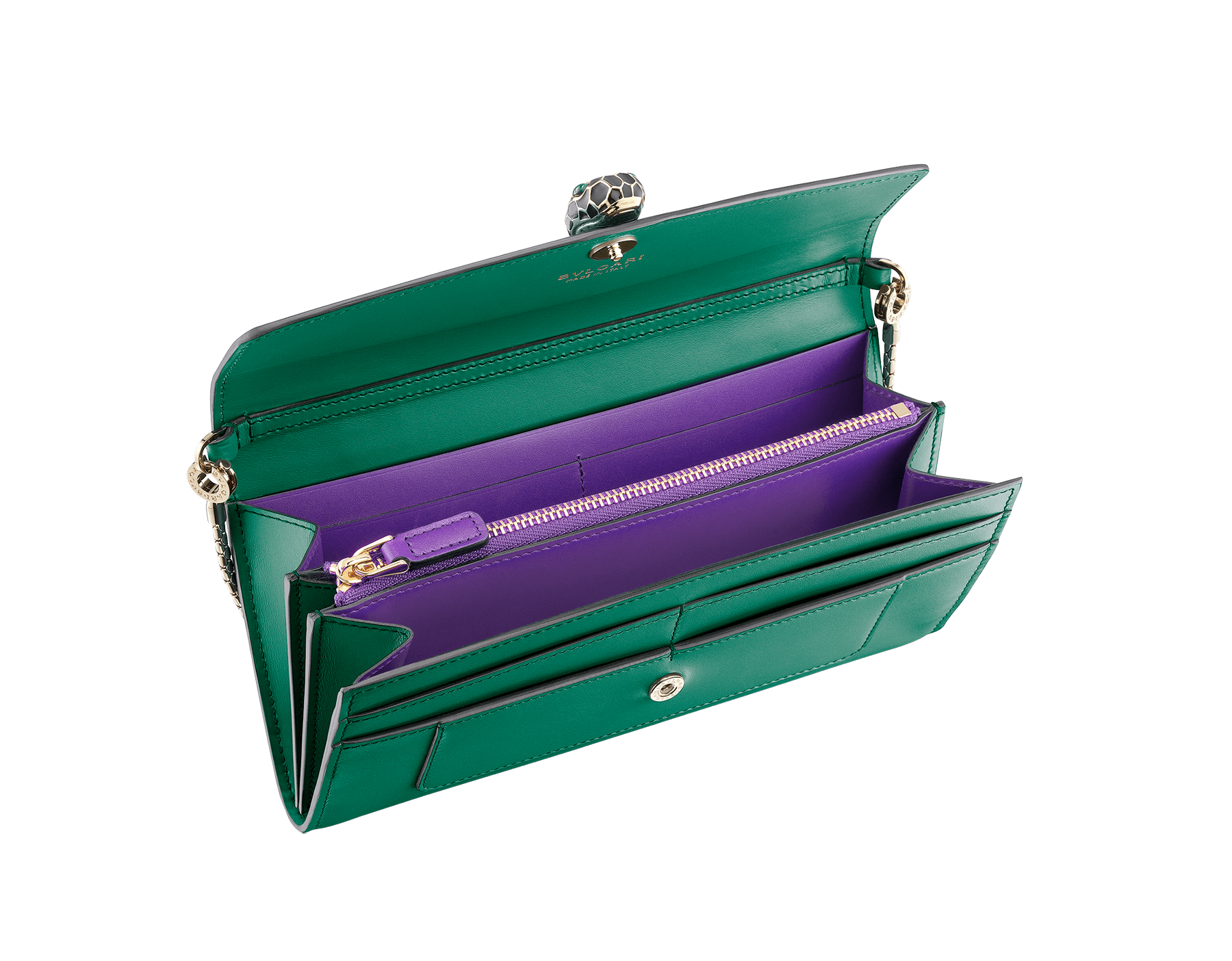 Serpenti Forever wallet pouch in carmine jasper and flash amethyst calf leather. Iconic snakehead stud closure in black and white enamel with green malachite eyes. SEA-WLT-LONGCHAIN-CL image 2