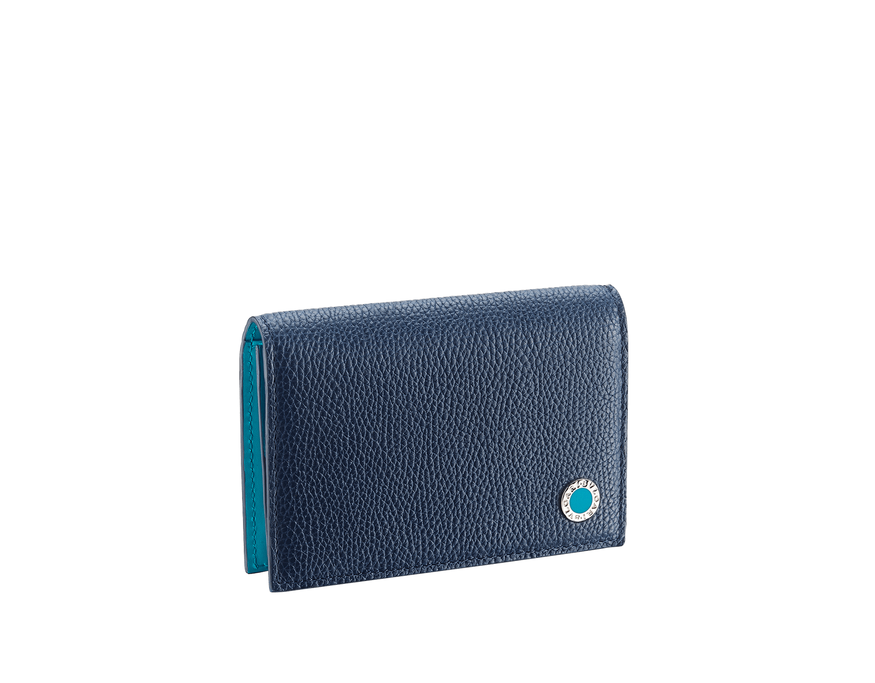 """""""BVLGARI BVLGARI"""" business card holder in denim sapphire soft full grain calf leather and capri turquoise calf leather, with brass palladium plated logo décor coloured in capri turquoise enamel. BBM-BC-HOLD-SIMPLE-sfgcl image 1"""