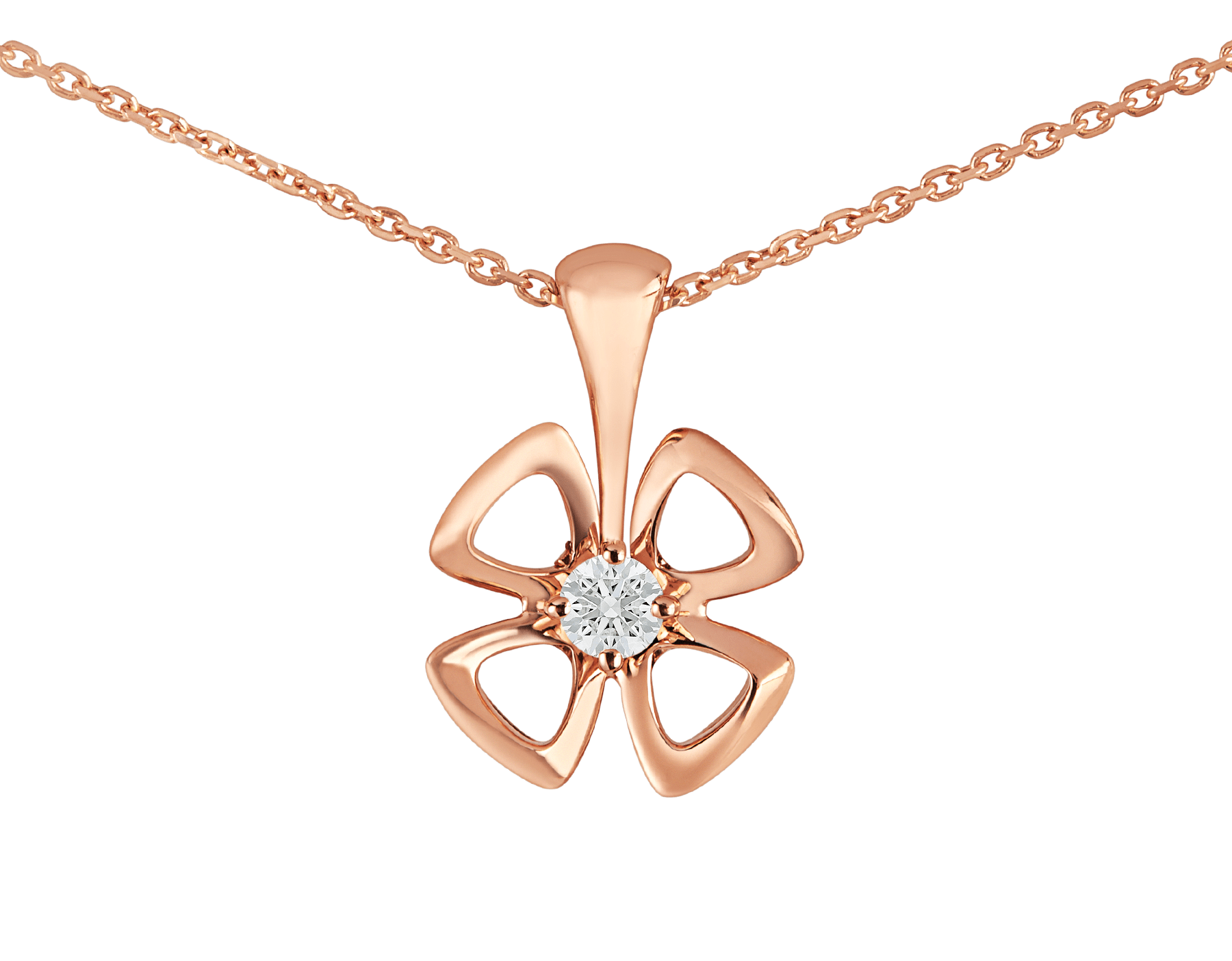 Fiorever 18 kt rose gold necklace set with a central diamond (0.10 ct) 355324 image 3