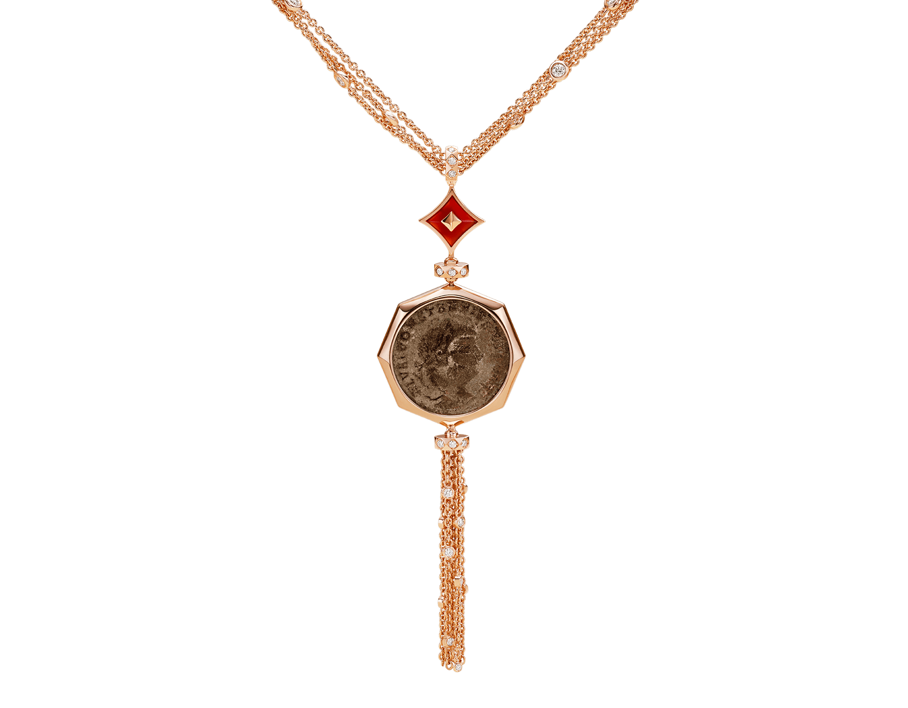 Monete 18 kt rose gold necklace set with an ancient coin, carnelian elements and pavé diamonds 355979 image 1