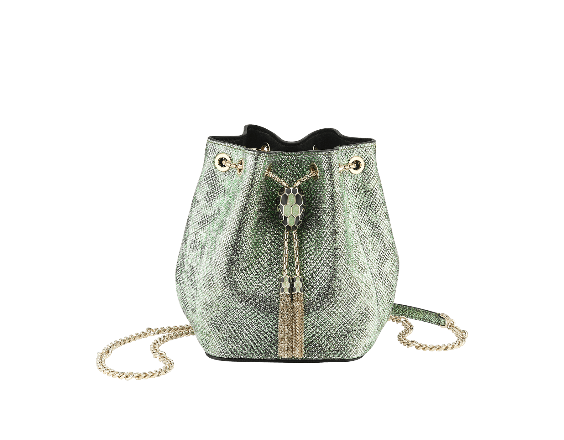 """Serpenti Forever"" micro bucket in mint metallic karung and a black nappa internal lining. Hardware in light gold plated brass and snakehead closure in black and glitter mint enamel, with eyes in black onyx. 289950 image 1"