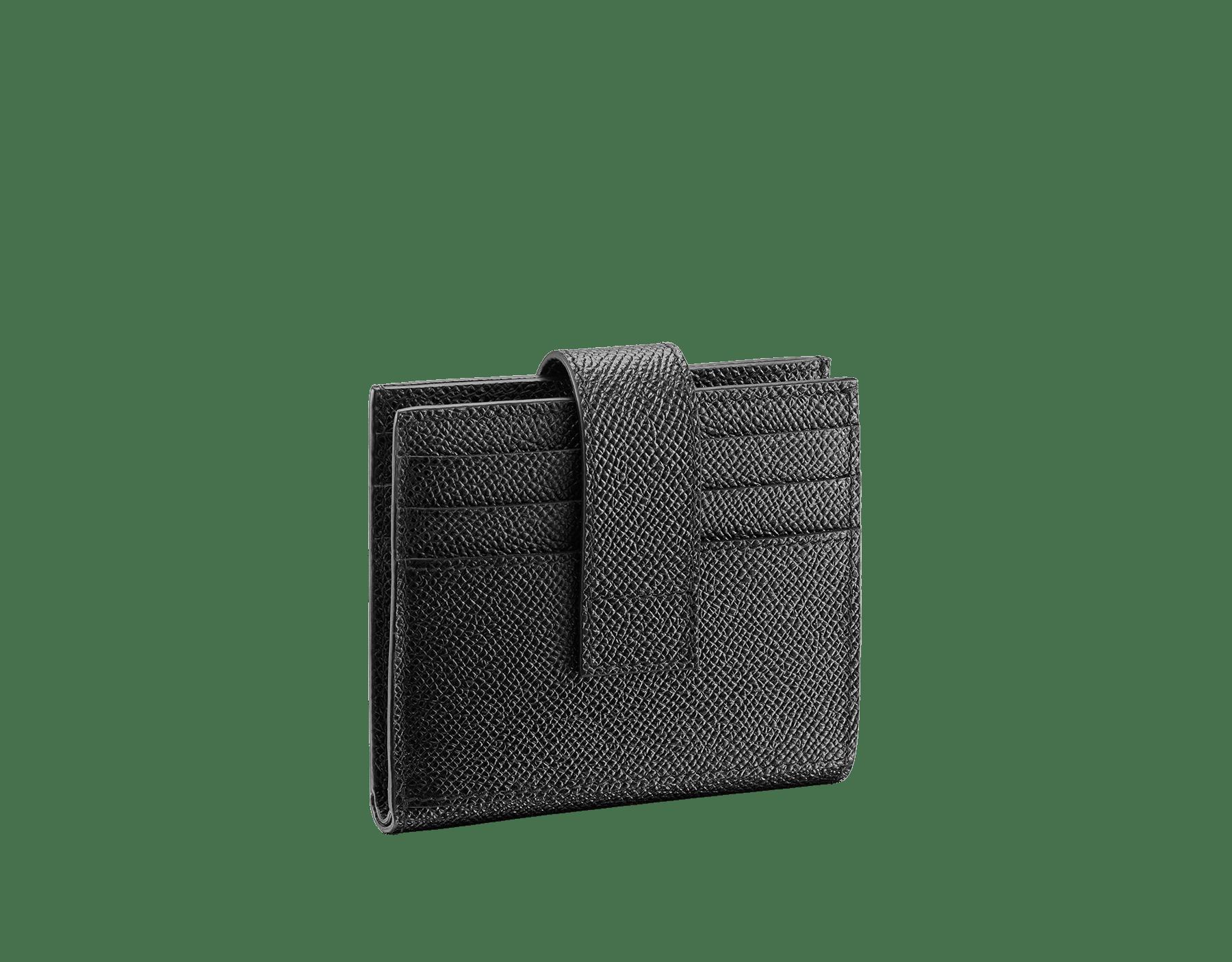 ブラックグレインカーフレザーの「ブルガリ・ブルガリ」カードホルダー。パラジウムプレートブラスのアイコニックなロゴ装飾。 290069 image 3