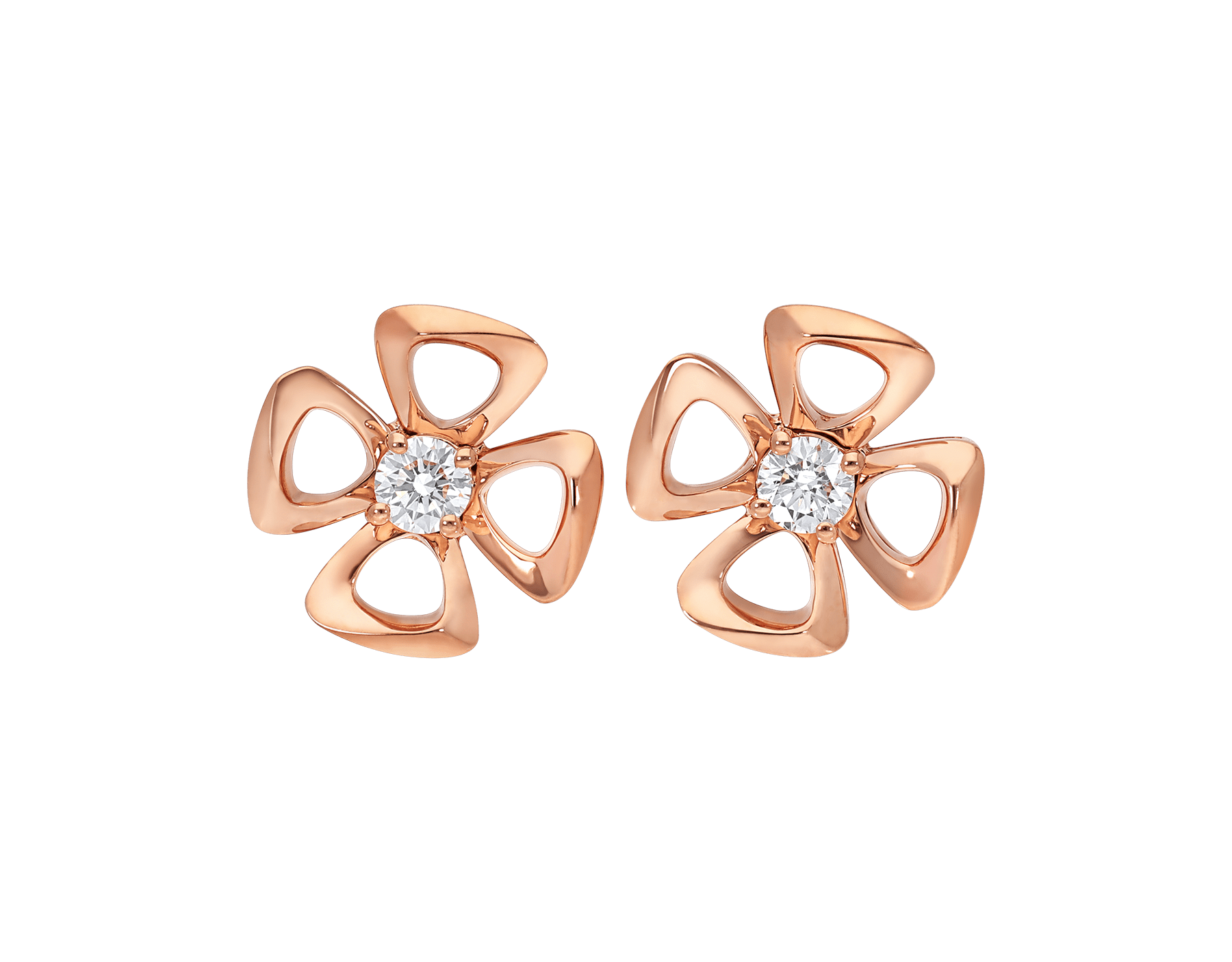 Boucles d'oreilles Fiorever en or rose 18 K serties de deux diamants de centre 355327 image 1