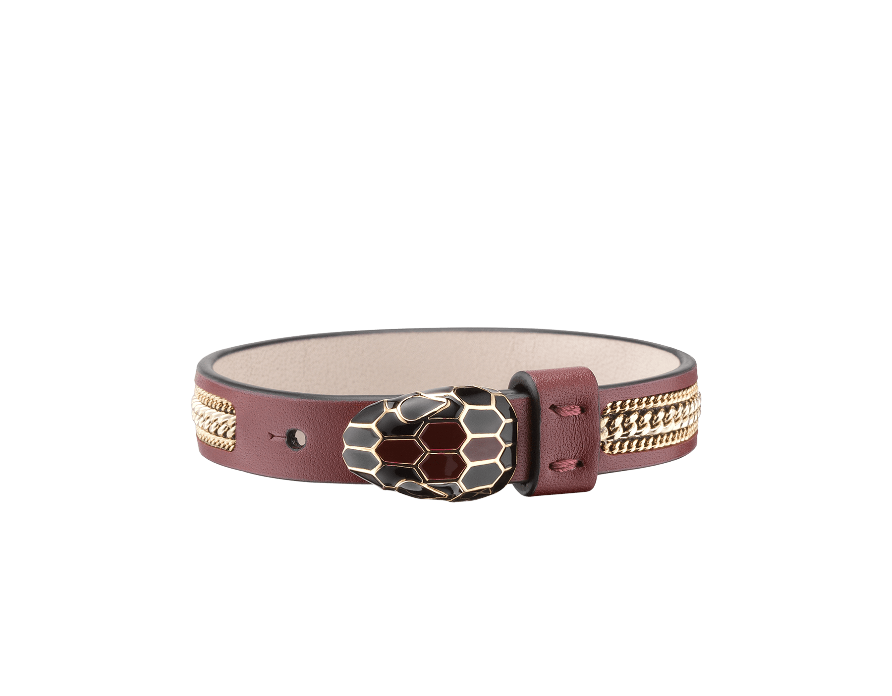 Serpenti Forever bracelet in Roman garnet calf leather embellished with a three-chain motif. Light rose gold plated snakehead closure with black and Roman garnet enamel, and black enamel eyes. BRACLT-SERPENTIU-3Cb image 1