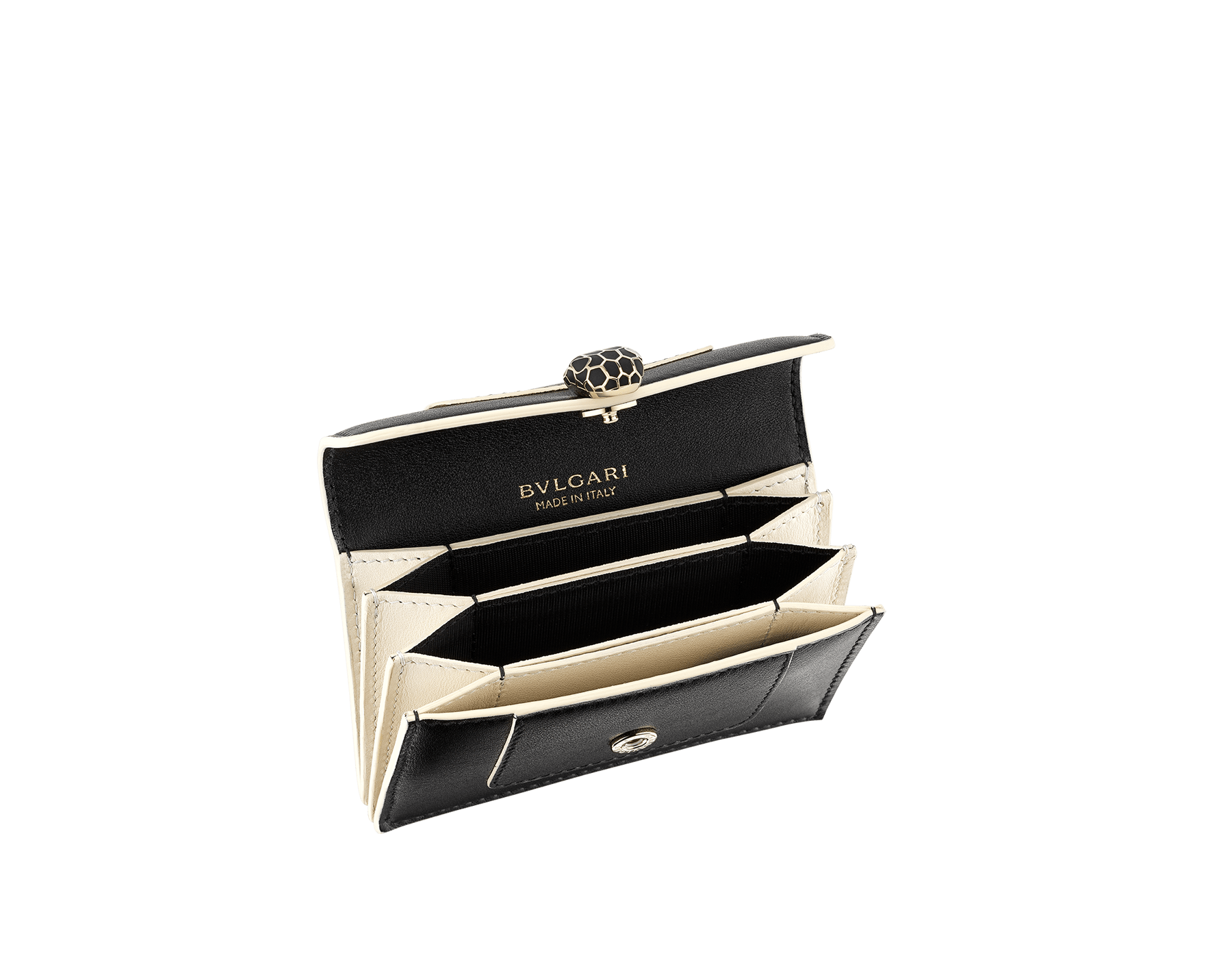 """""""Serpenti Forever"""" gusseted card holder in black calf leather. Tempting light gold-plated brass snakehead stud closure, finished with matte black enamel, and black enamel eyes. SEA-CCACCORDEON image 4"""