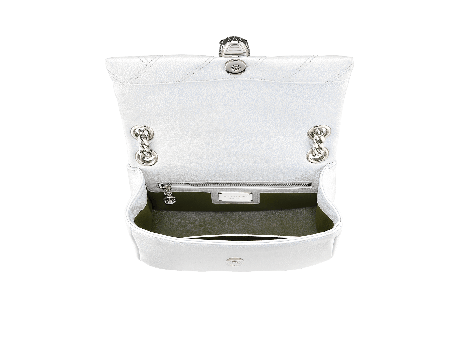 """Serpenti Cabochon"" shoulder bag in soft quilted white agate goatskin with a pearled, iridescent effect and a graphic motif. Brass palladium plated tempting snake head closure in matte black and shiny white enamel and black onyx eyes. 290236 image 4"