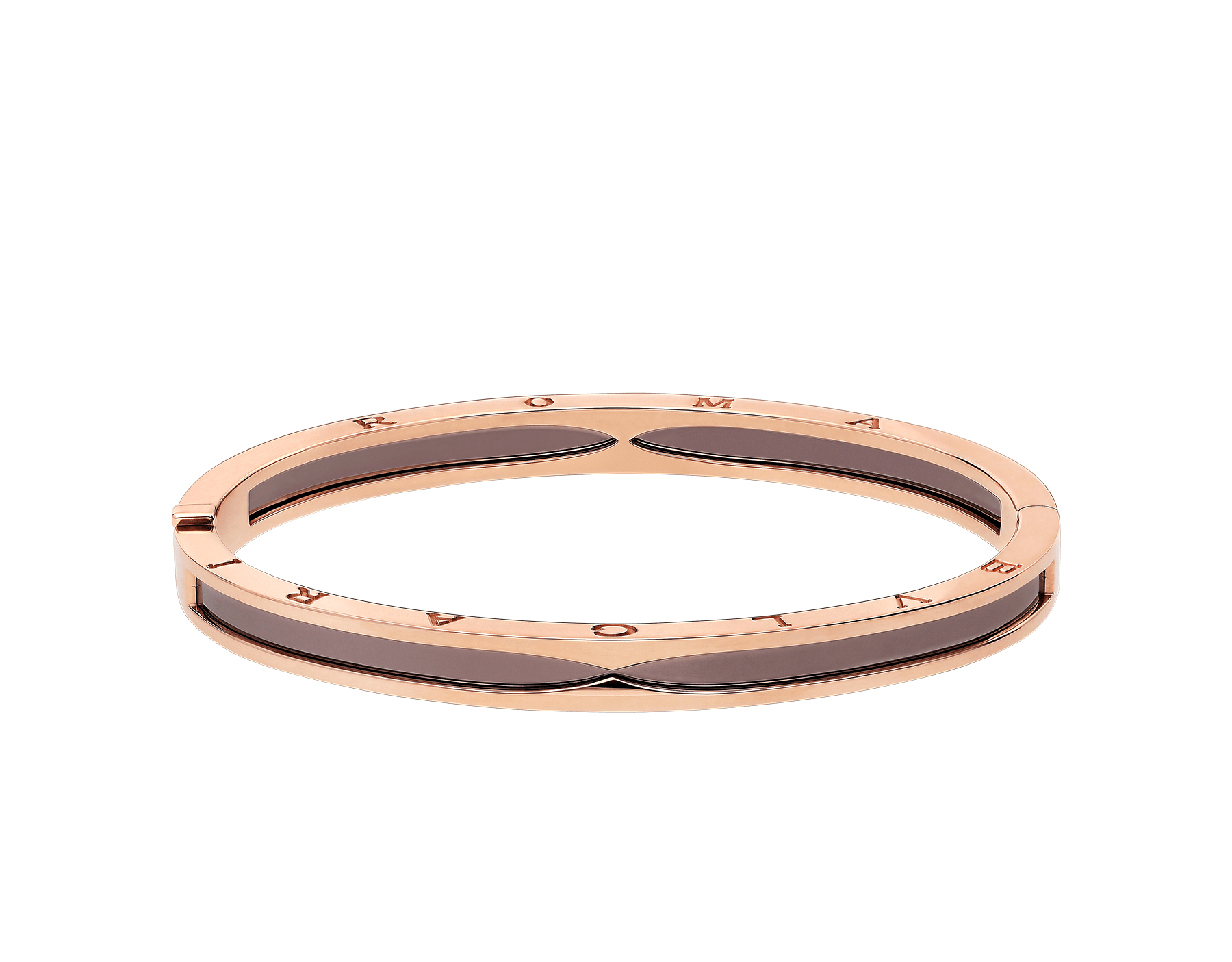 B.zero1 bangle bracelet in 18 kt rose gold and cermet. BR857945 image 2