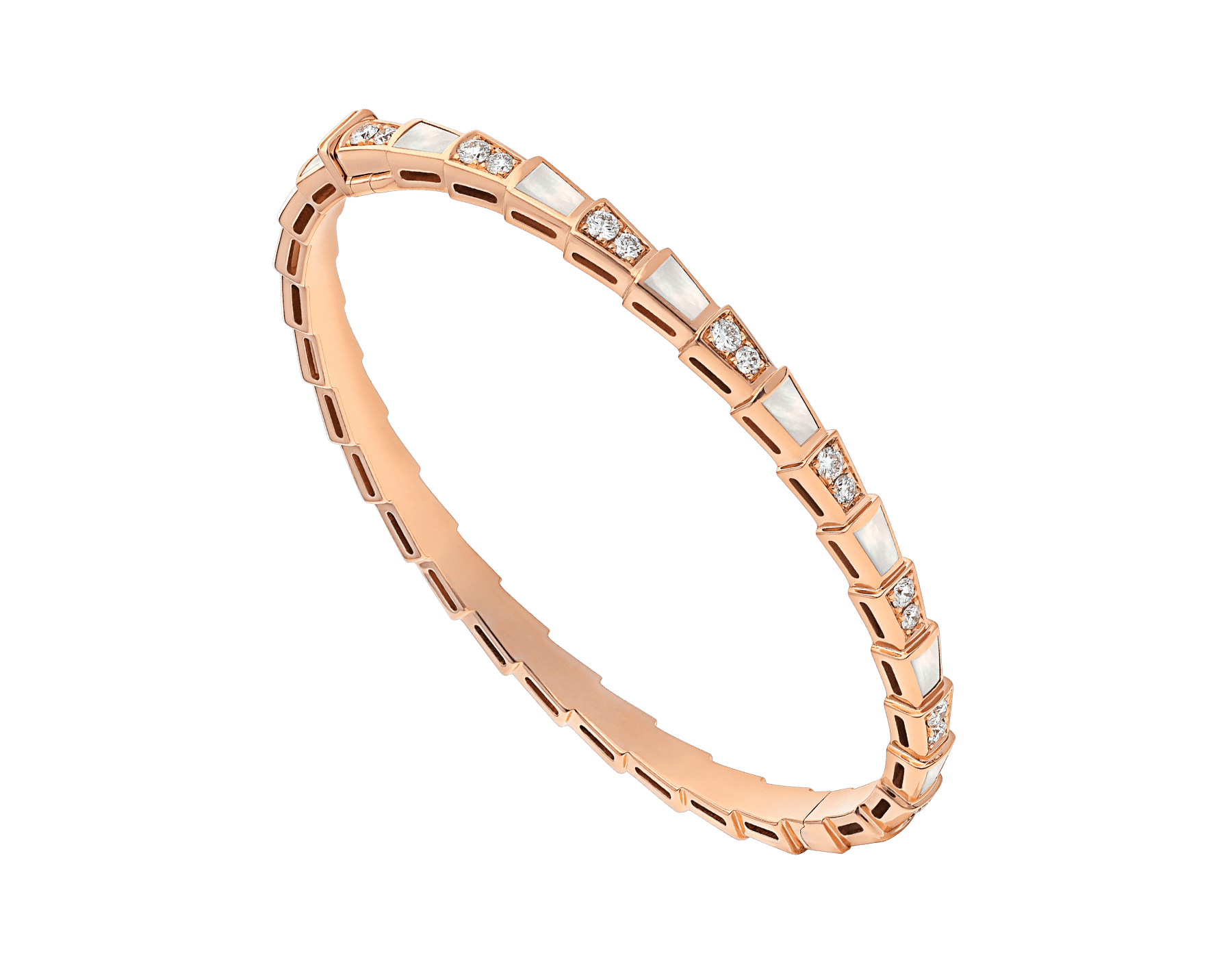 Serpenti 18 kt rose gold bracelet set with mother-of-pearl elements and pavé diamonds BR858356 image 1