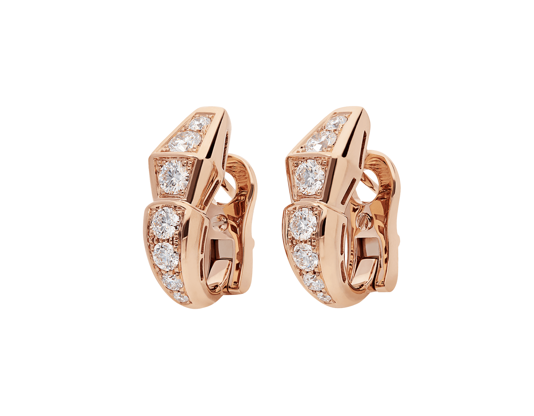 Serpenti Viper earrings in 18 kt rose gold, set with pavé diamonds. 354035 image 2