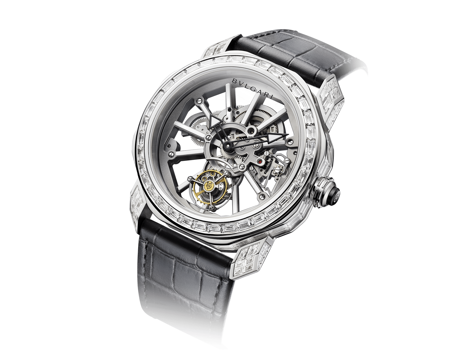 Octo Tourbillon Sapphire watch with mechanical manufacture movement, flying tourbillon, manual winding, platinum case set with 88 baguette-cut diamond, rhodium plated bridges decorated with white luminiscent bar-indexes in ITR2& SLN®, sapphire middle case, skeletonized dial and black alligator bracelet 102956 image 3