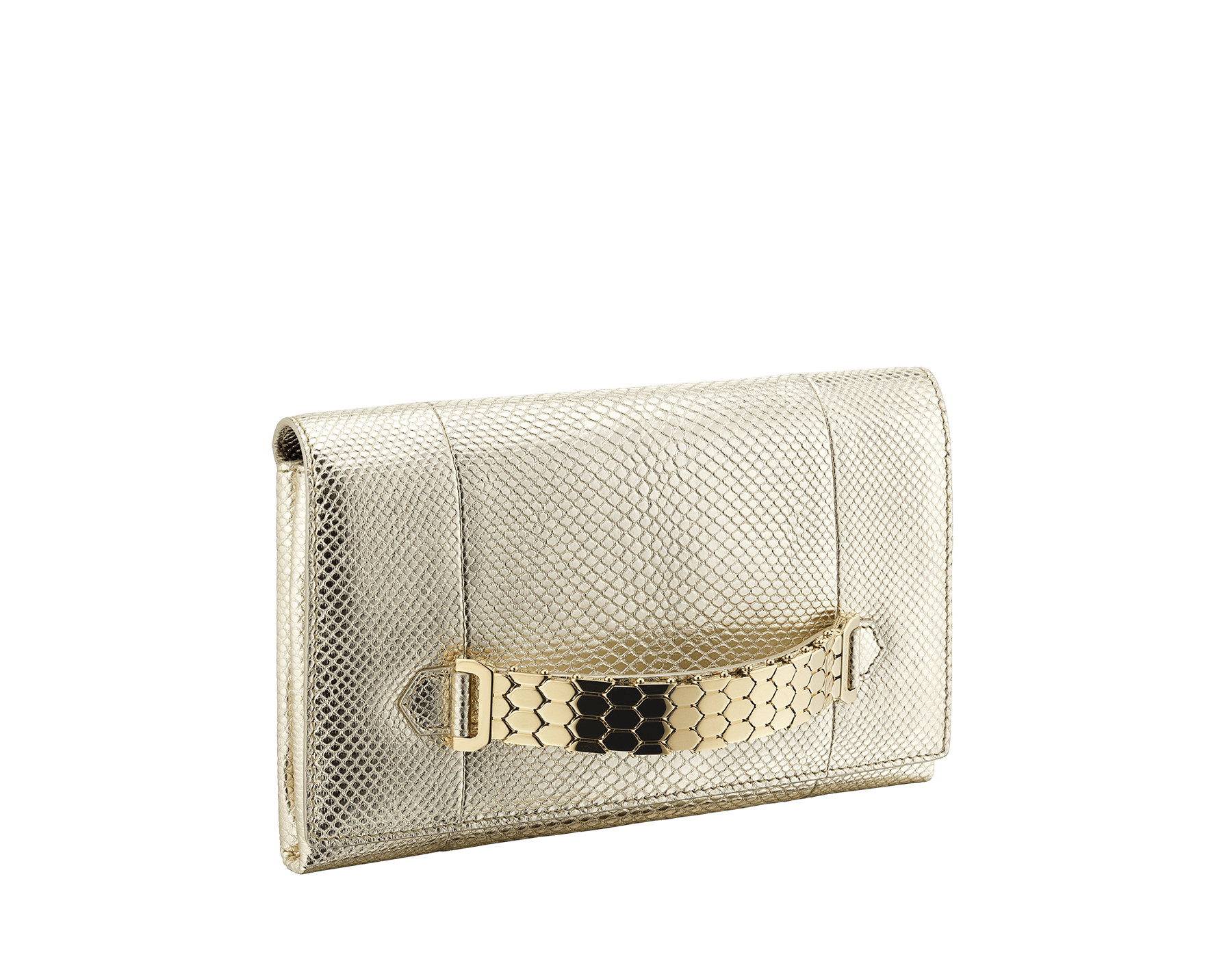 """Serpenti"" evening handle clutch bag in charcoal diamond metallic karung skin. Light gold Serpenti Seduttori handle. 526-HANDLECLUTCH image 2"
