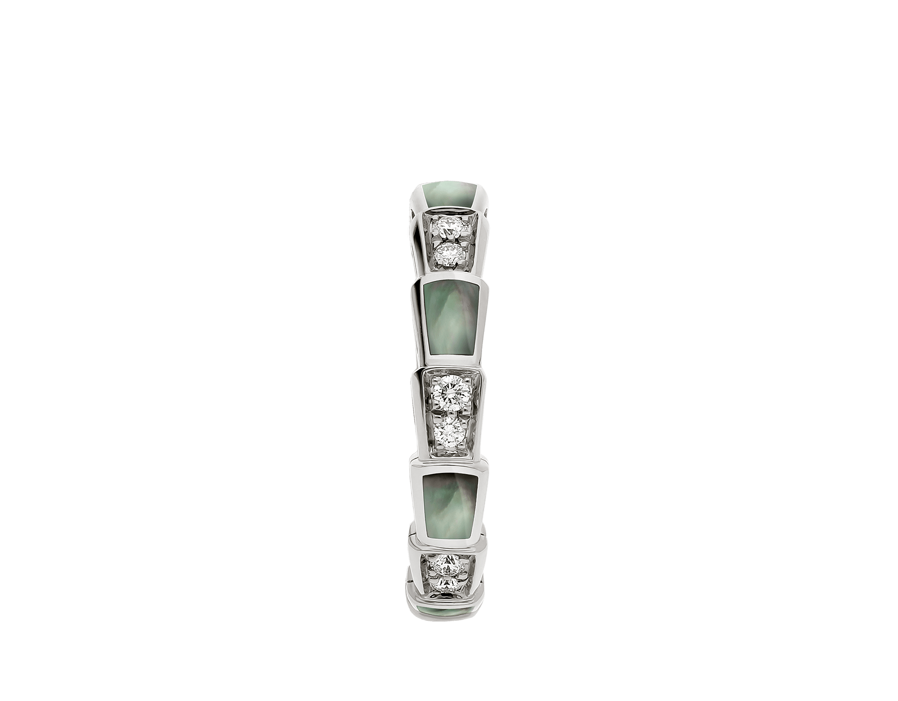 Serpenti Viper band ring in 18 kt white gold set with grey mother-of-pearl elements and pavé diamonds . AN857934 image 2