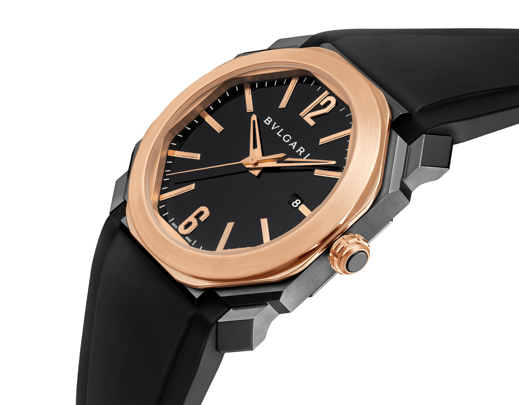 Octo watch with mechanical manufacture movement, automatic winding and date, stainless steel case treated with black Diamond Like Carbon, 18 kt rose gold bezel, black lacquered dial and black rubber bracelet. 102485 image 2