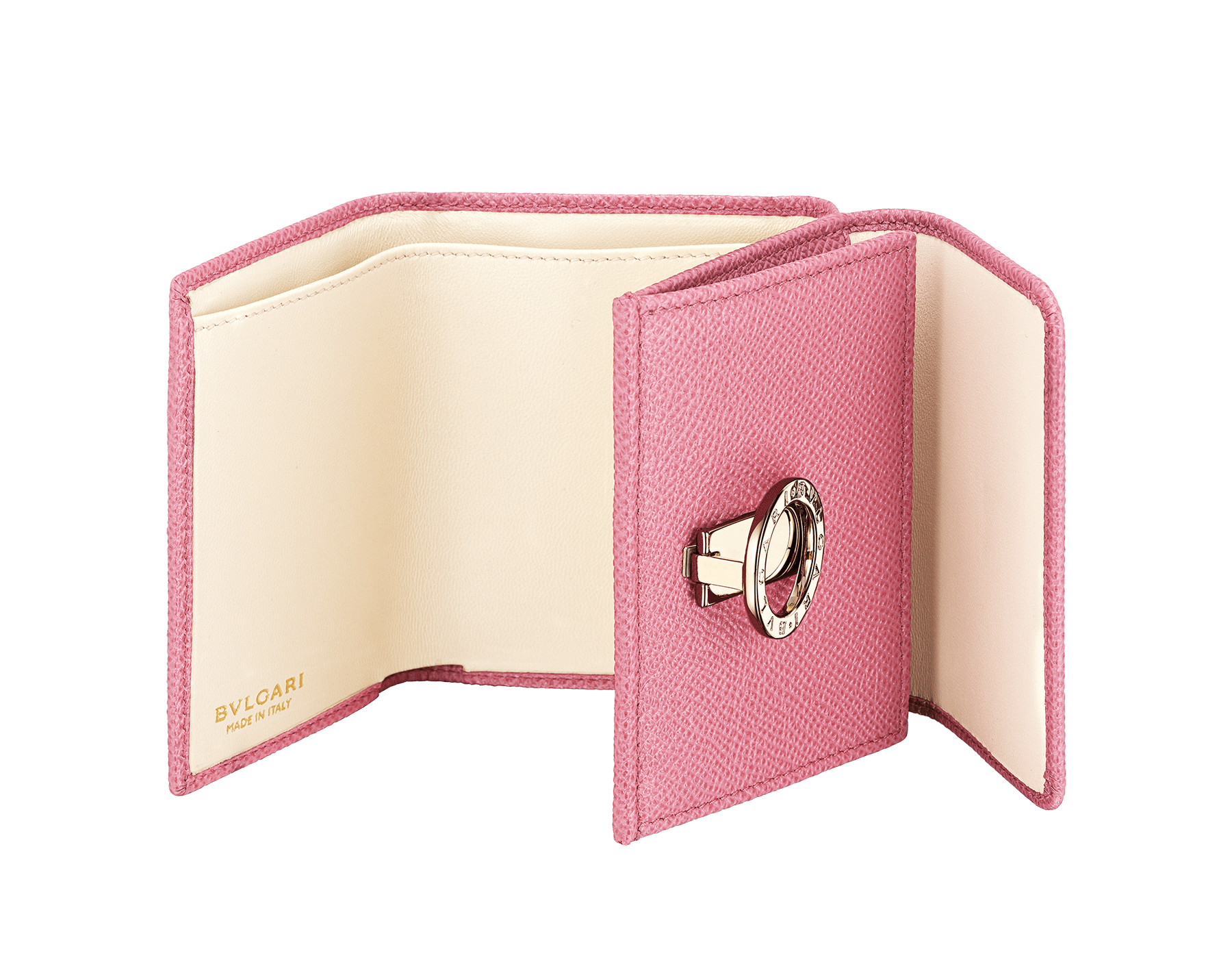 BVLGARI BVLGARI compact wallet in mint bright grain calf leather and taffy quartz nappa leather. Iconic logo clip closure in light gold plated brass on the flap and a press stud closure on the body. 579-MINICOMPACTb image 2