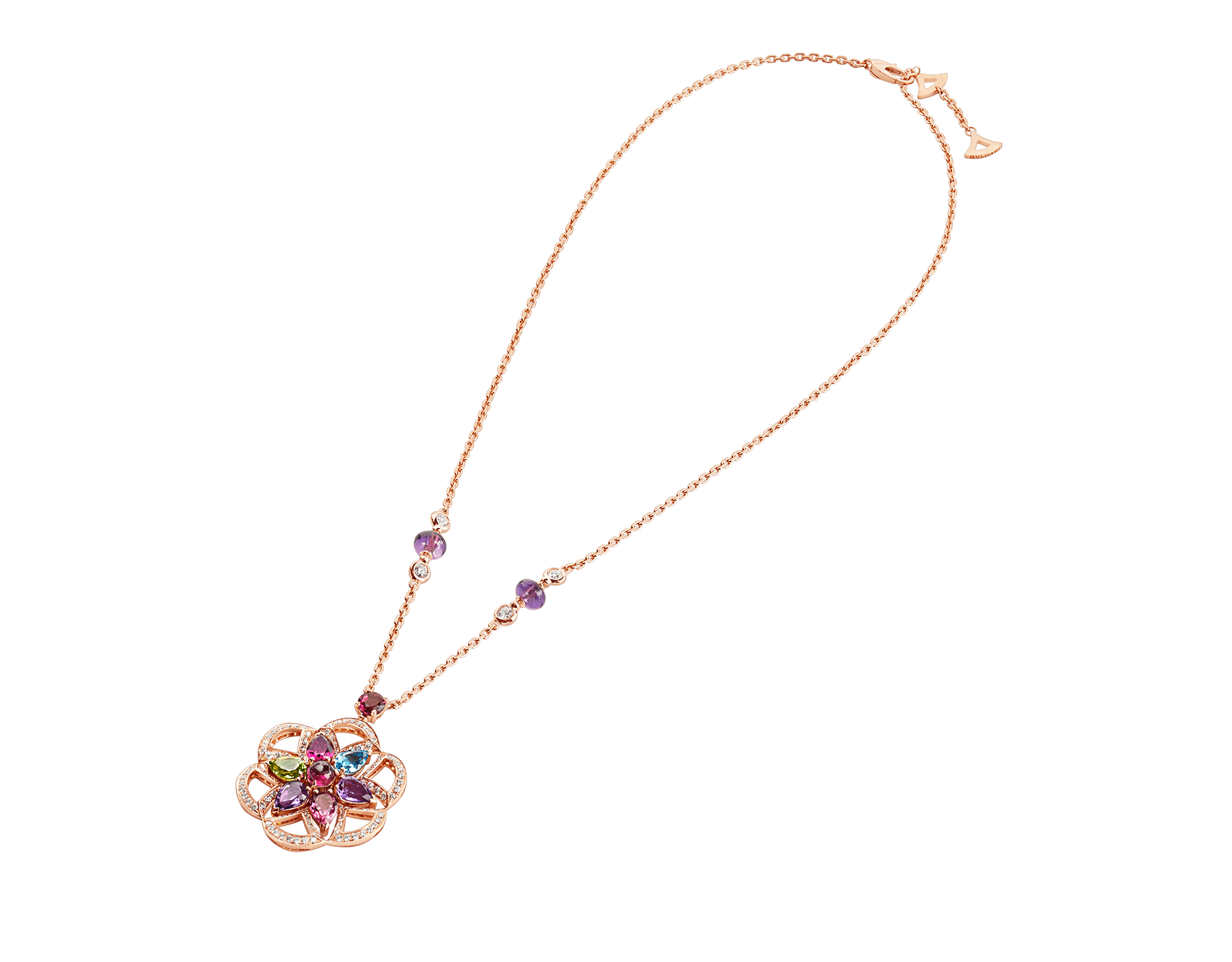 DIVAS' DREAM 18 kt rose gold necklace set with coloured gemstones and pavé diamonds 355617 image 2