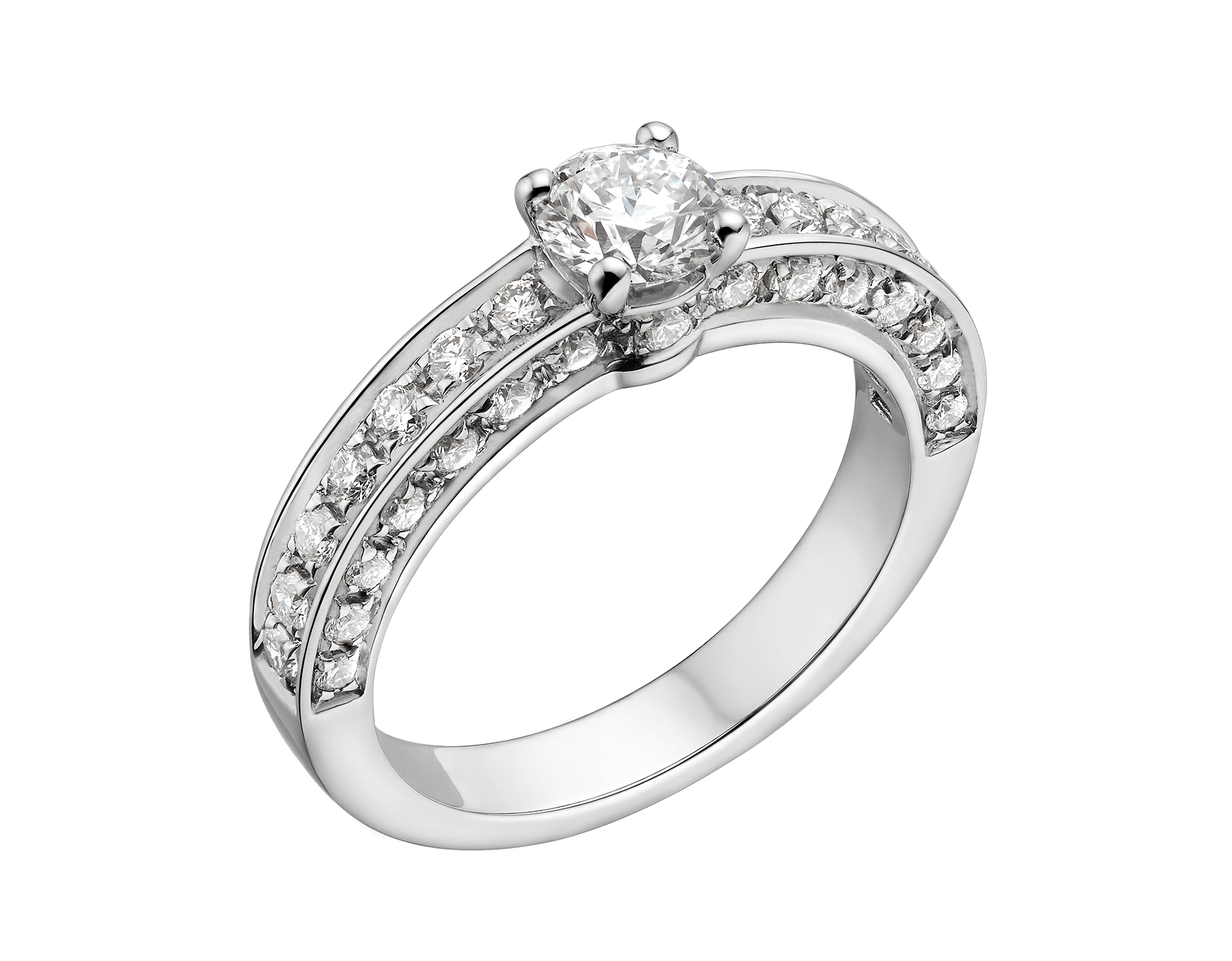 Dedicata a Venezia: 1503 solitaire ring in platinum with round brilliant cut diamond and pavé diamonds. Available from 0.30 ct. Named after the year in which the first engagement ring was exchanged in Venice. 344008 image 1