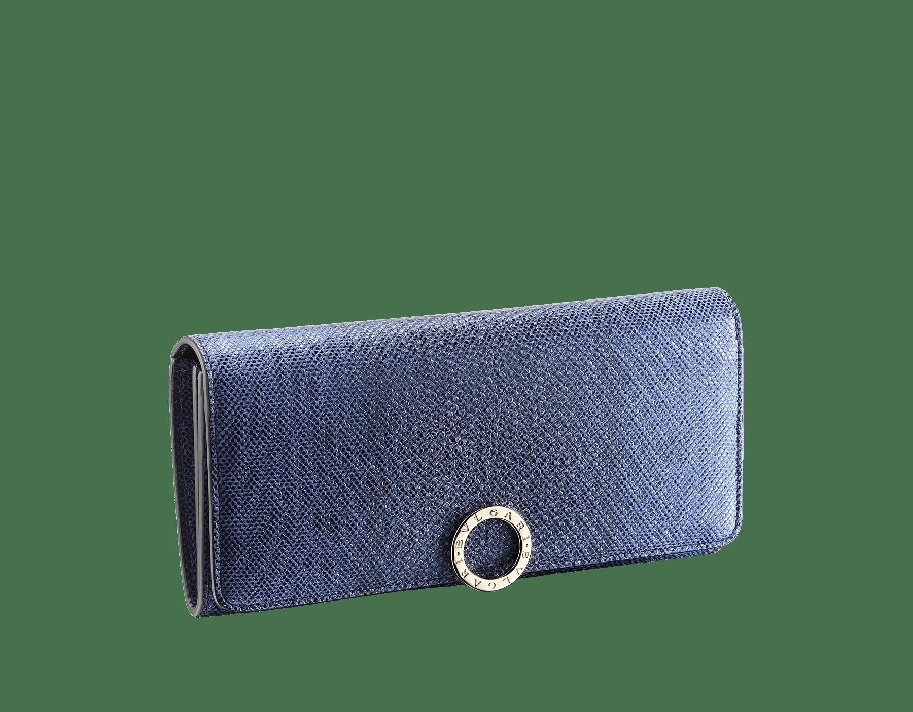 """BVLGARI BVLGARI"" large wallet in metallic Midnight Sapphire blue karung skin and black calfskin. Iconiclogo clip closure in light gold plated brass. 579-WLT-SLI-POC-CL-MK image 1"